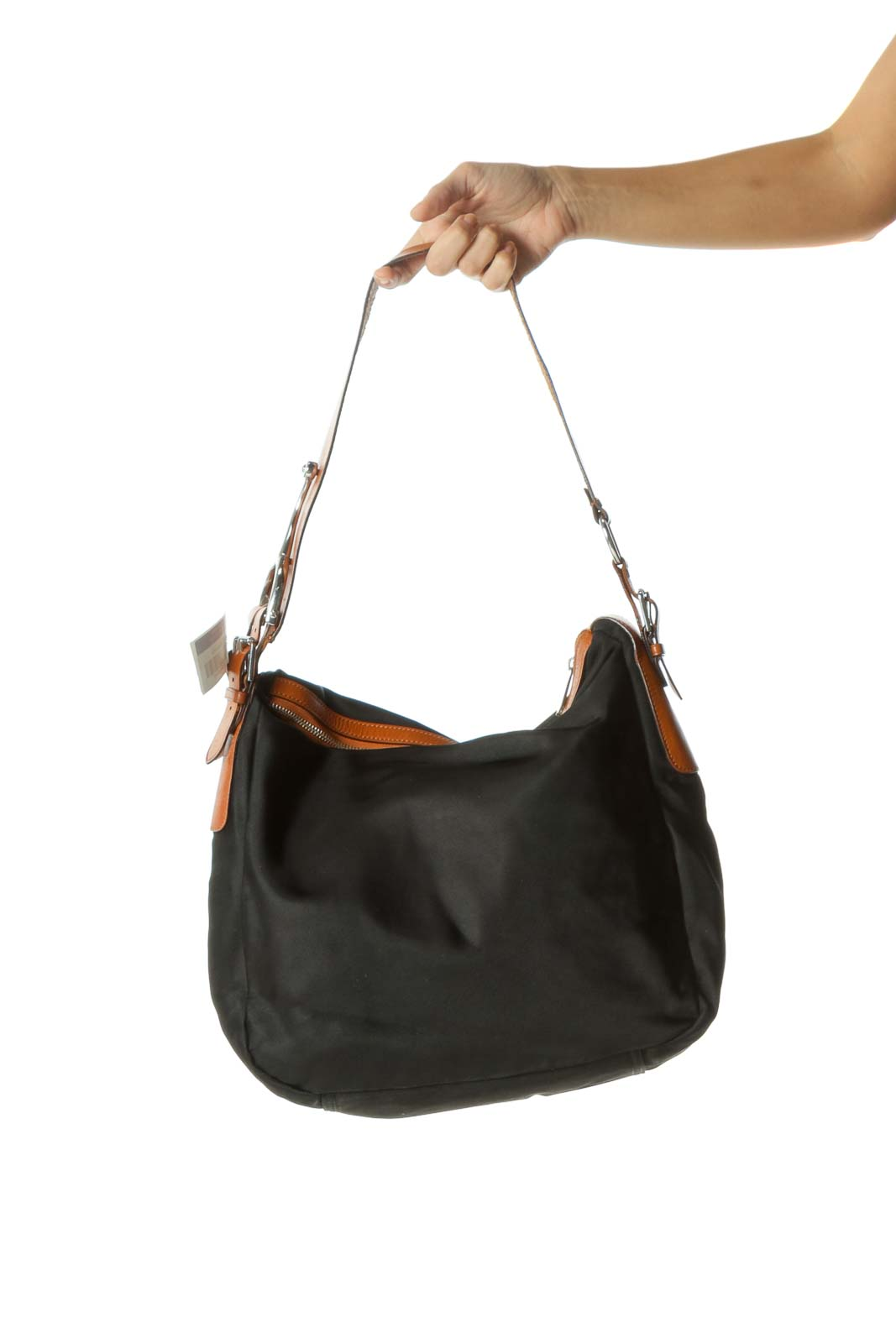 Black Nylon Shoulder Bag with Leather Straps
