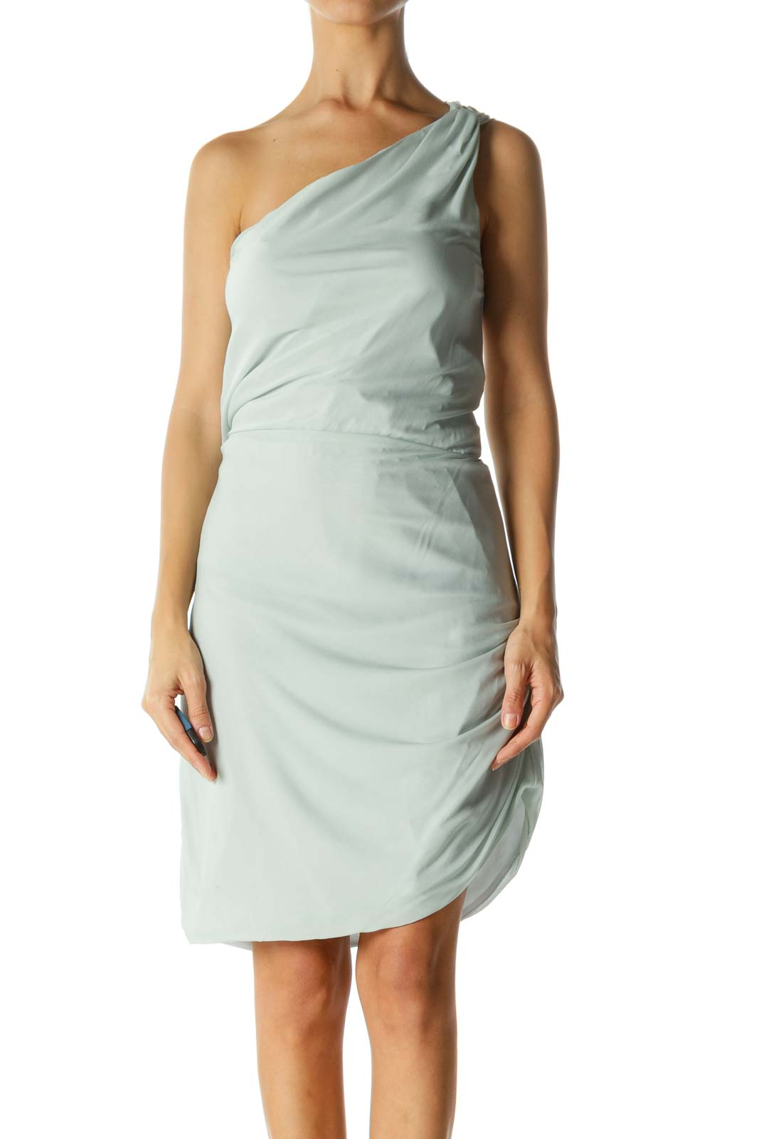 Light Mint Blue One-Shoulder Elastic-Cinched Waist Dress