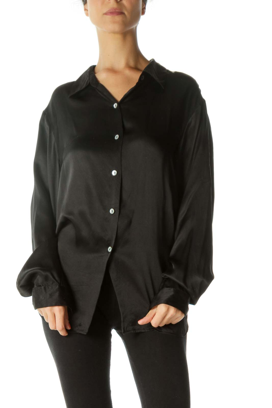 Black 100% Silk Buttoned Loose Soft-Touch Shirt
