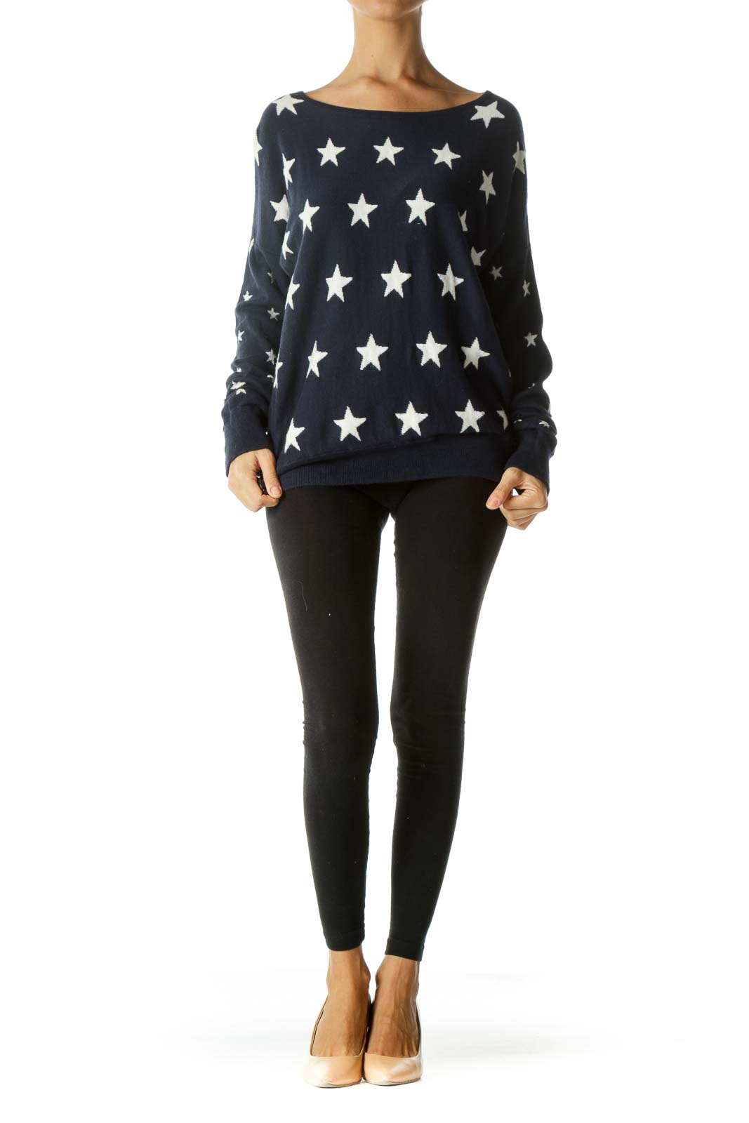 Blue White Star-Print Cotton Silk Blend Sweater