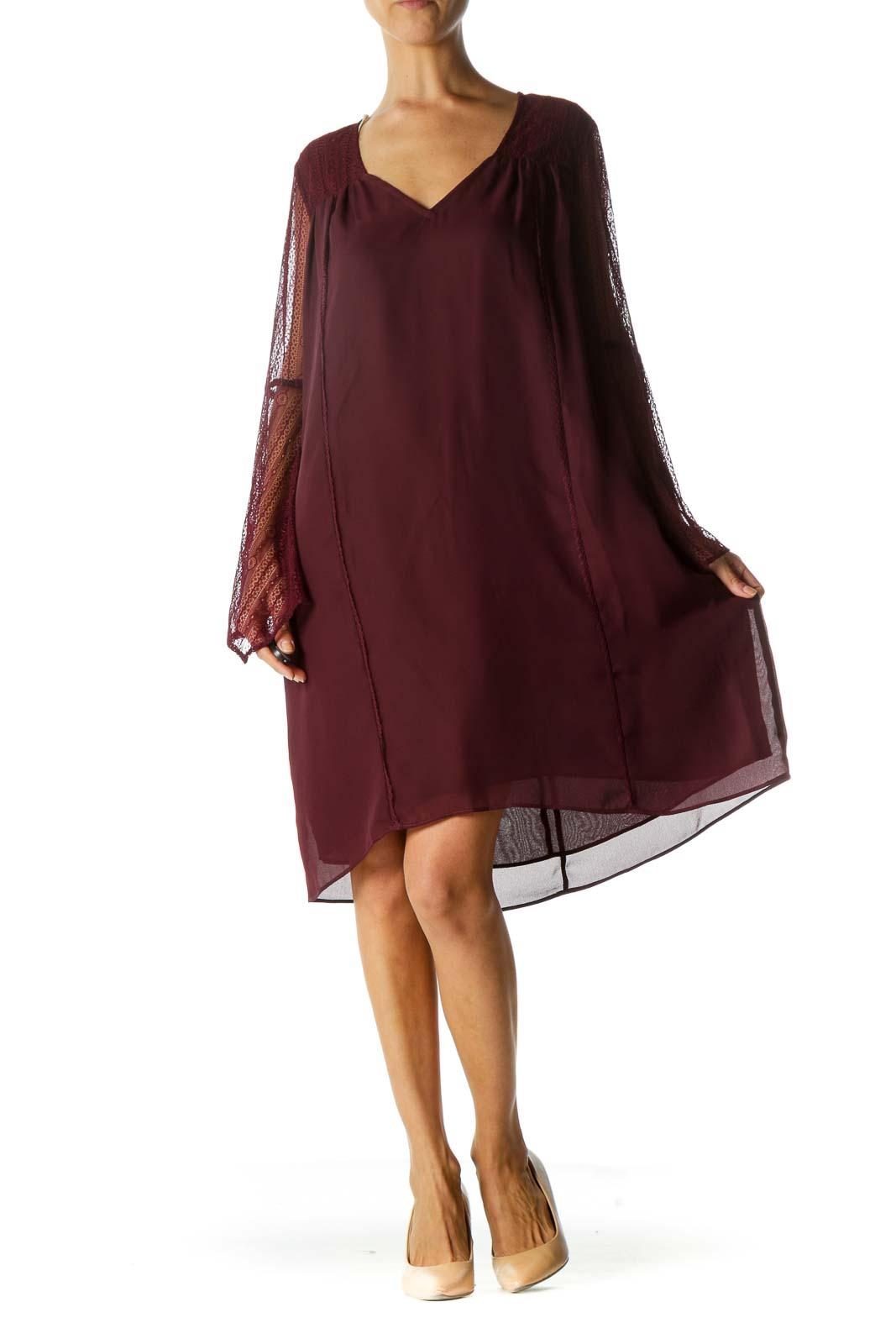 Burgundy V-Neck Stretch Lace Detail Long Sleeve Dress