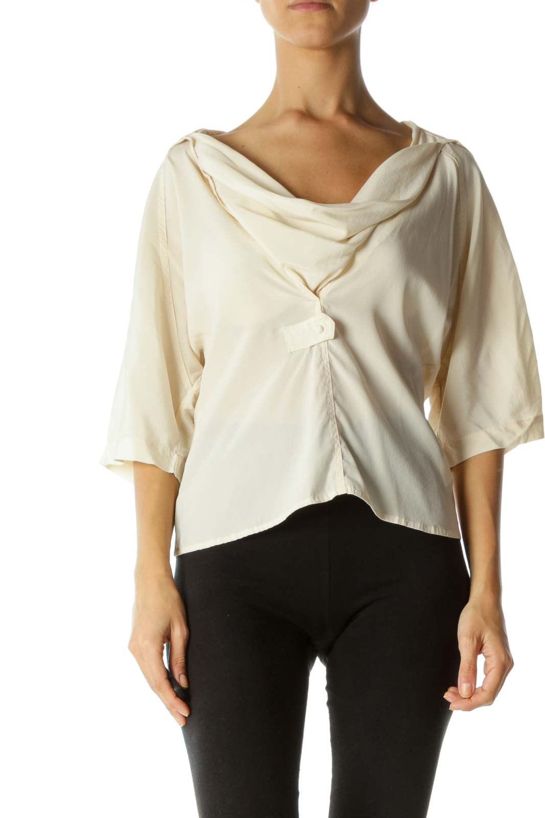 Cream Silk Blend Cowl Neck Fabric-Button 3/4 Sleeve Top