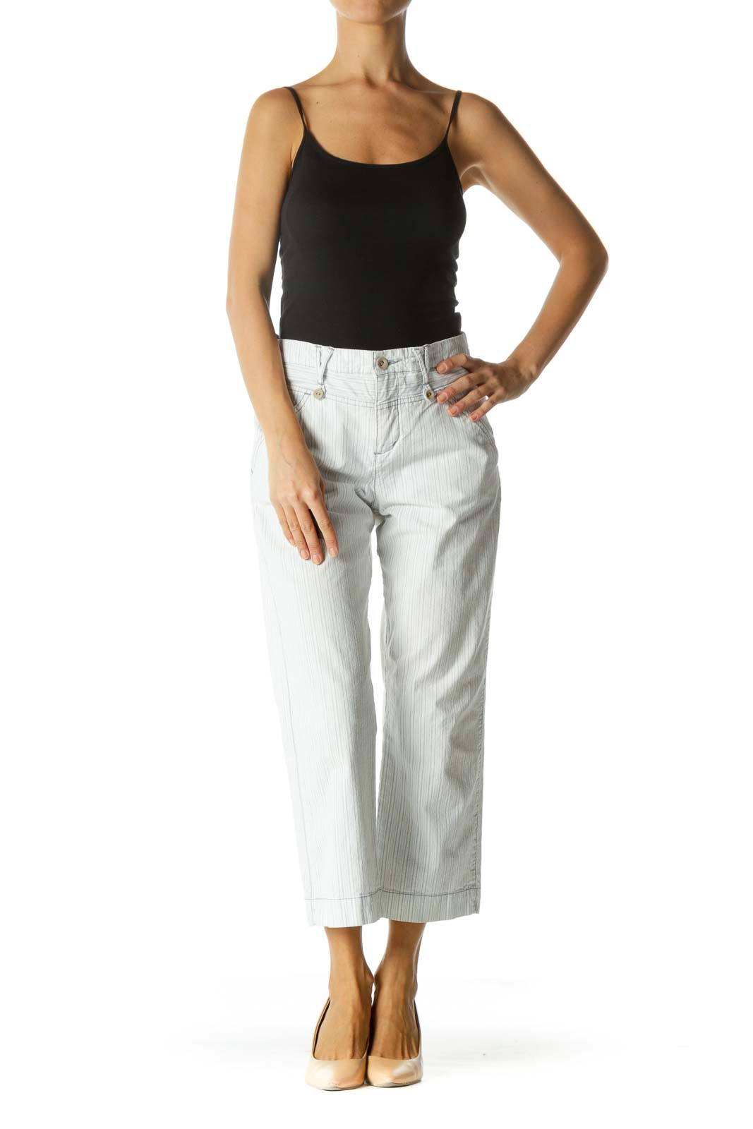White Striped Cropped Pant