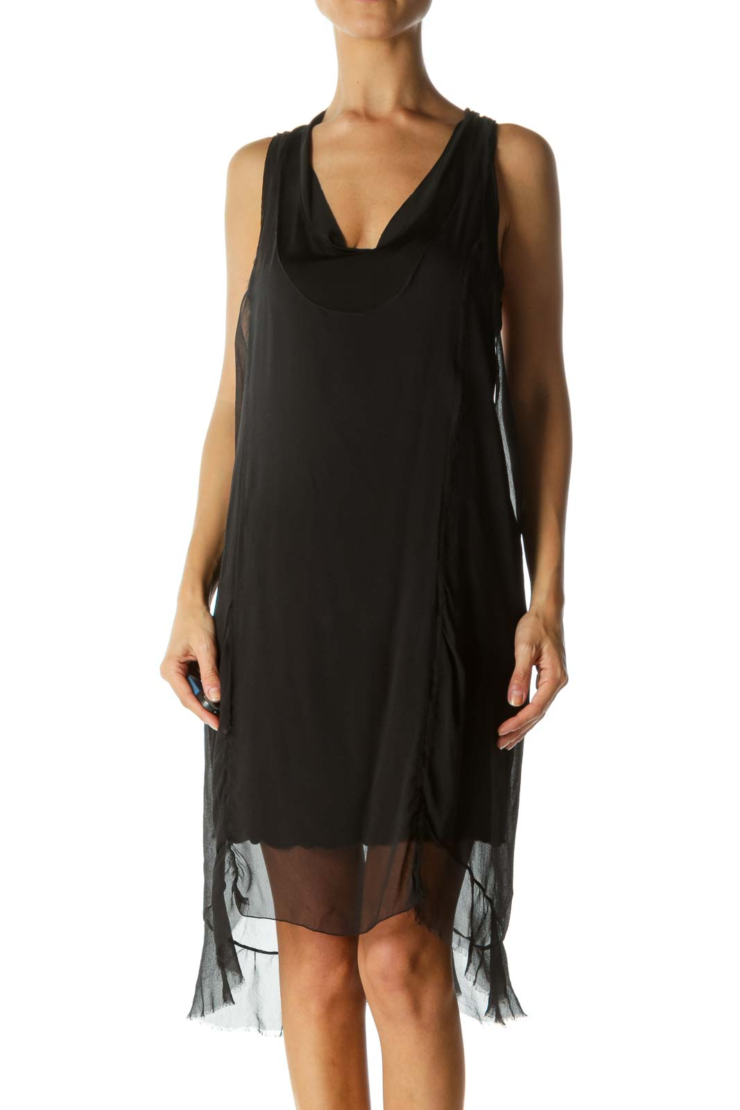 Black Silk Blend Round Neck Stretch Lining Dress