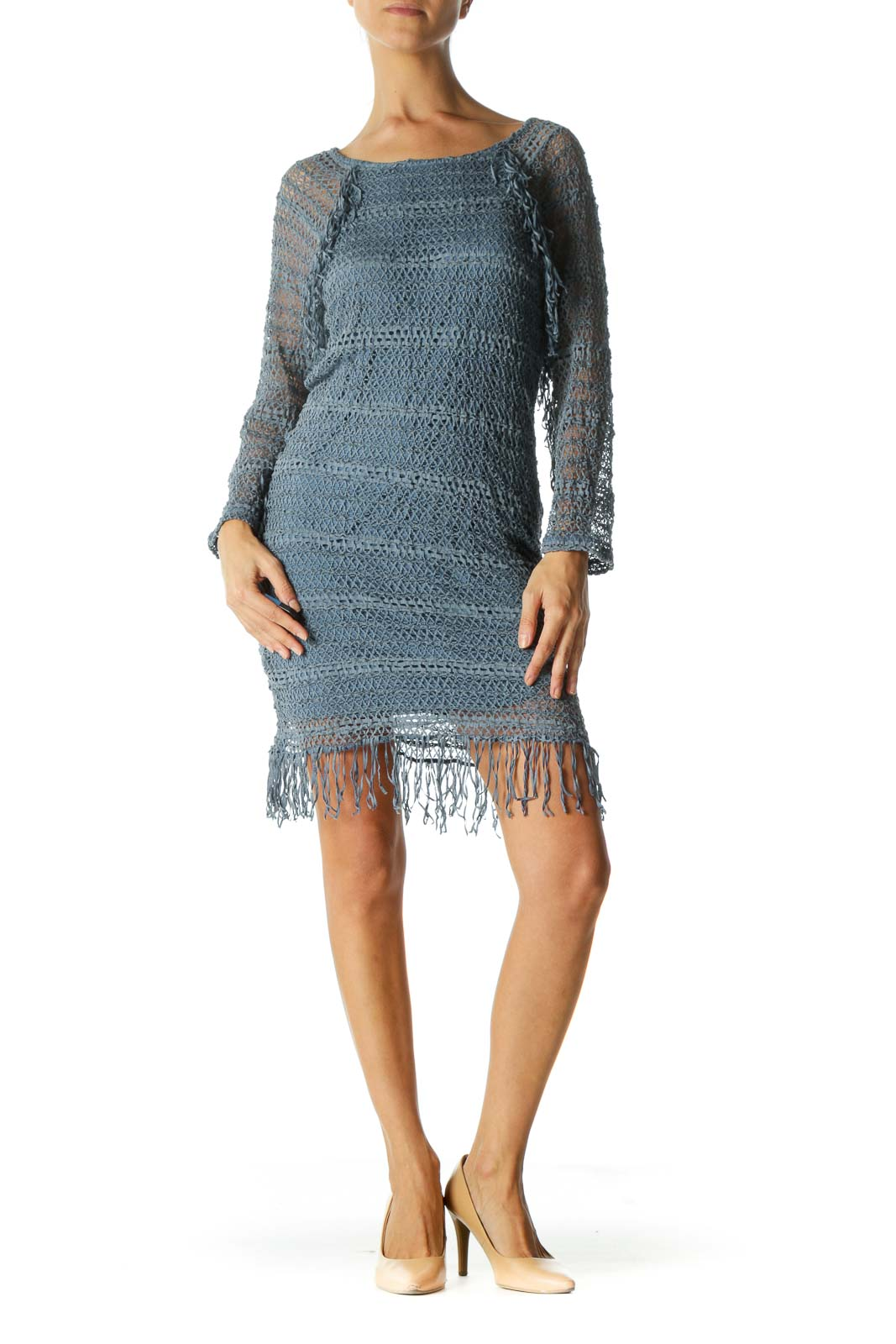 Blue Round Neck Stretch Knit Fringe Detail Dress