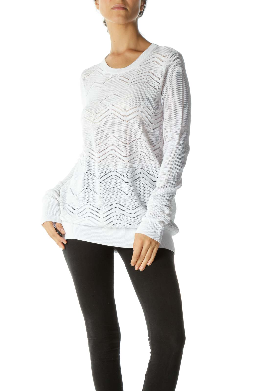 White See-Through Long Sleeve Stretch Knit Top