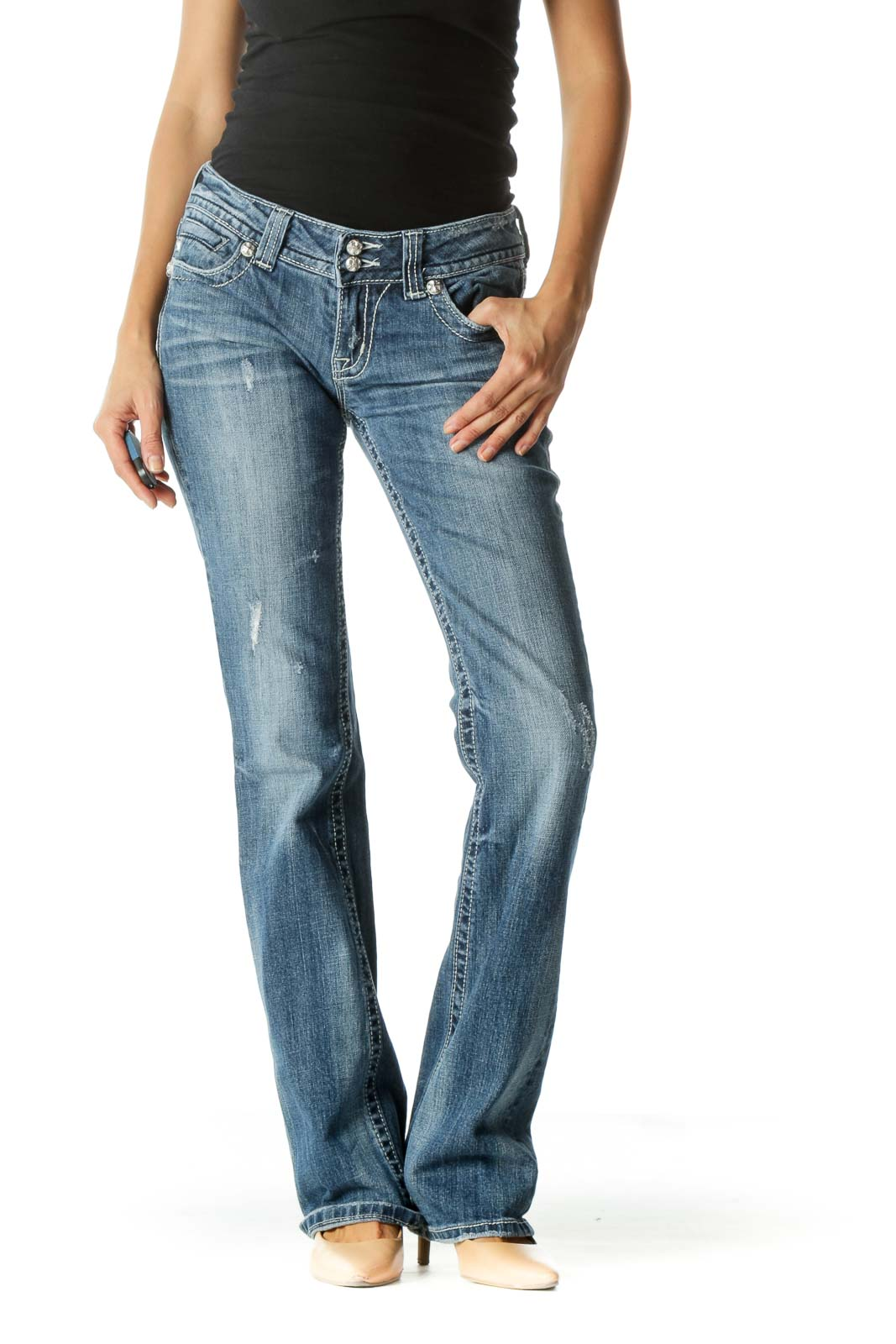 Blue Medium Wash Low Rise Jeans