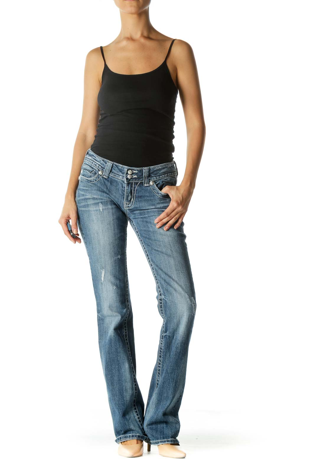 Blue Medium Wash Low Rise Jeans