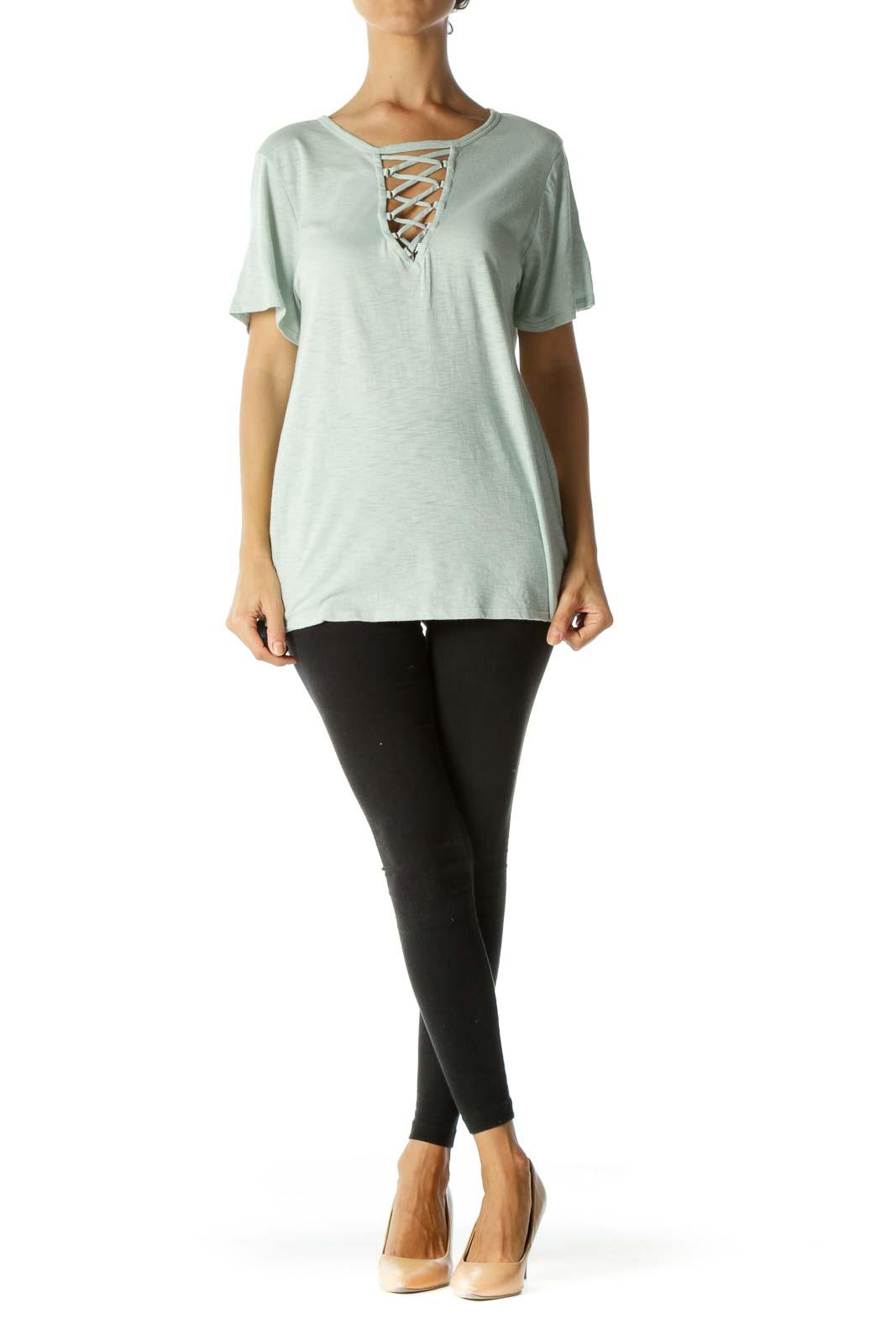 Light Mint Green Cotton Blend Crisscross Stretch T-Shirt