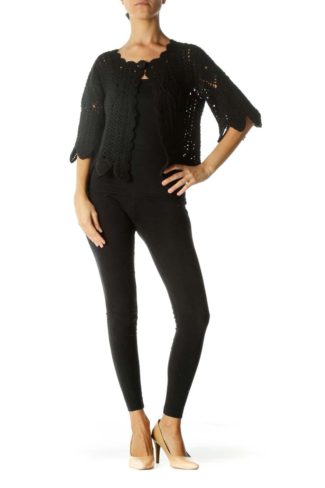 Black Soft 100% Long-Staple-Cotton Knit Single-Button Sweater