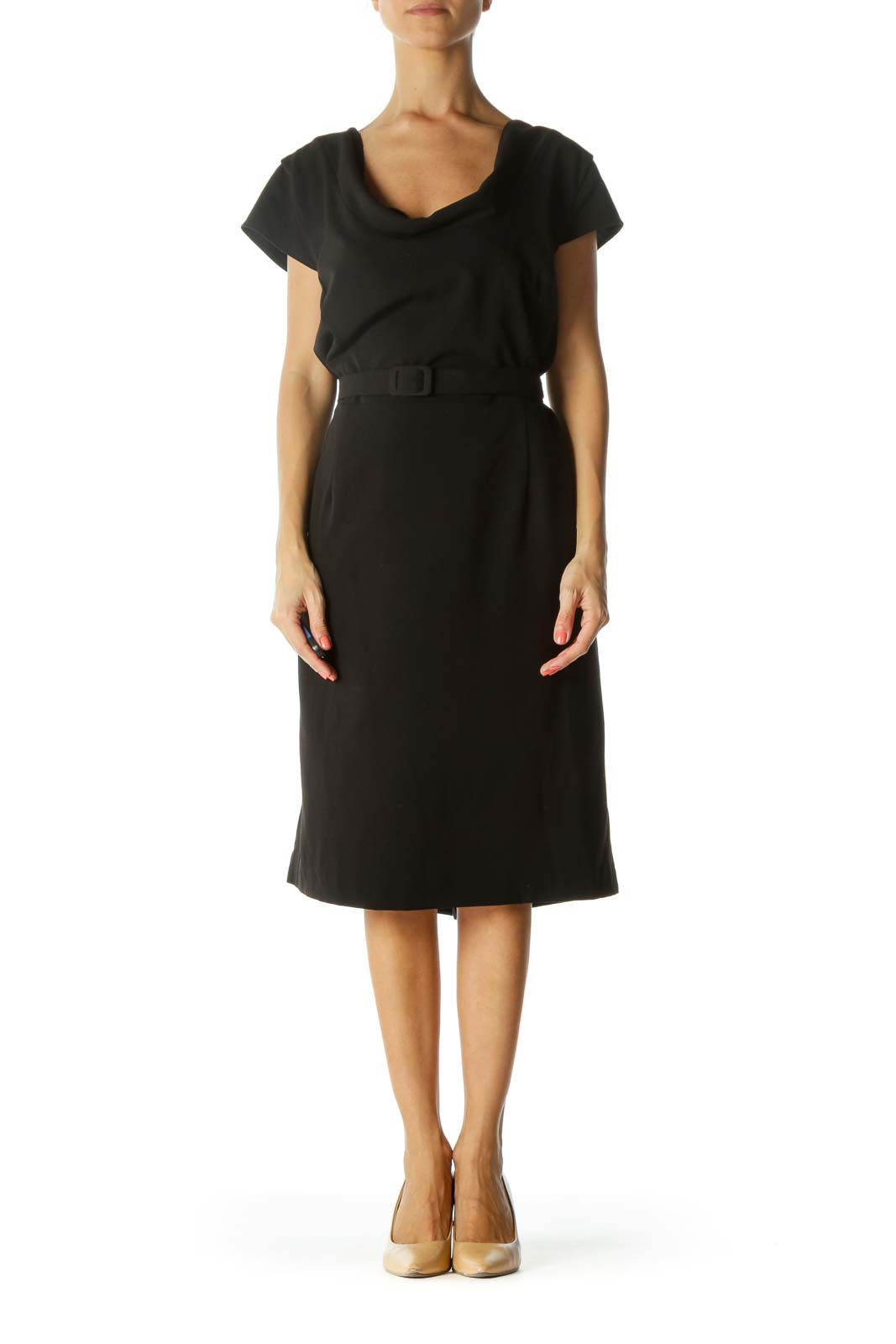 Black Cowl Neck Cap-Sleeves Belted Cinched-Waist Dress