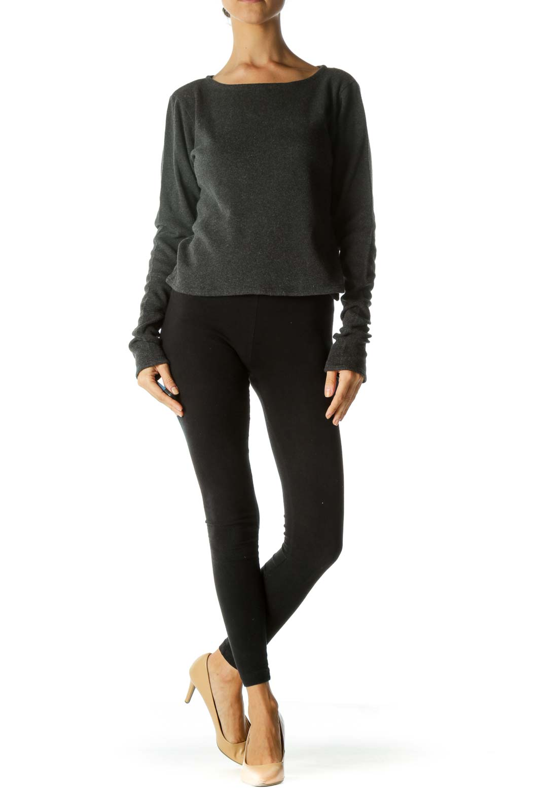 Gray Boat-Neck Long Sleeve Stretch Top