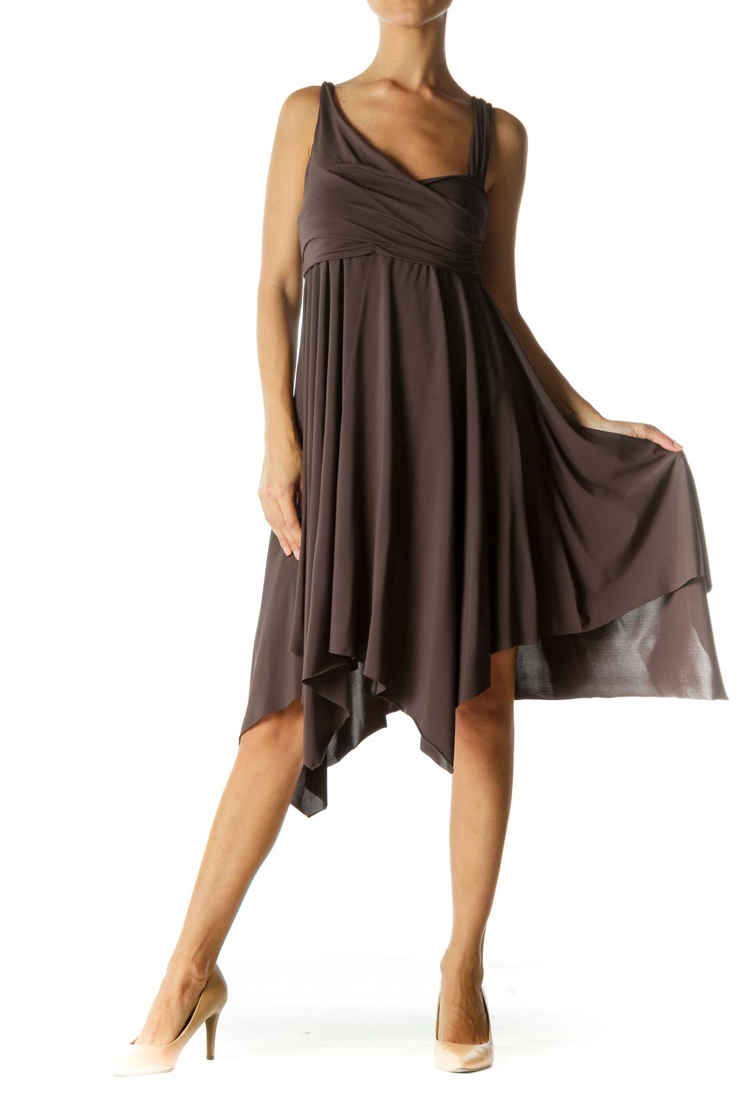 Gray Scrunch Detail Waterfall Stretch Dress