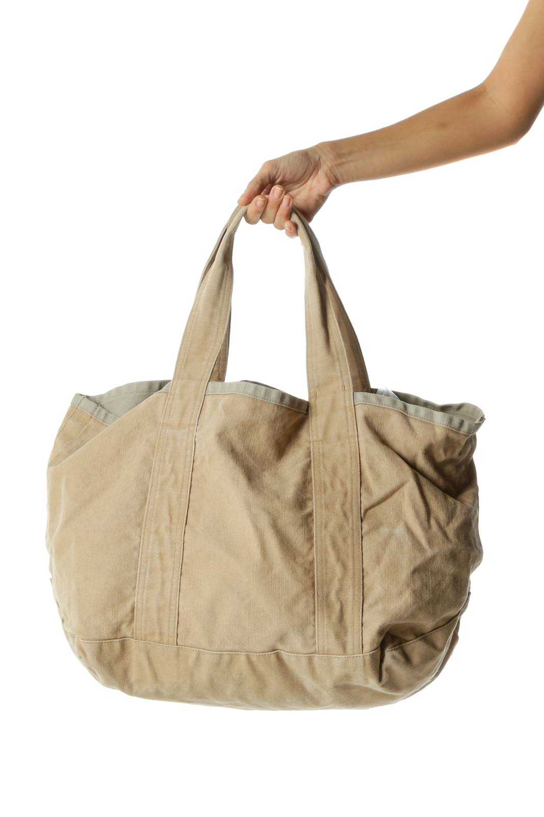 Beige Oversize Canvas Tote