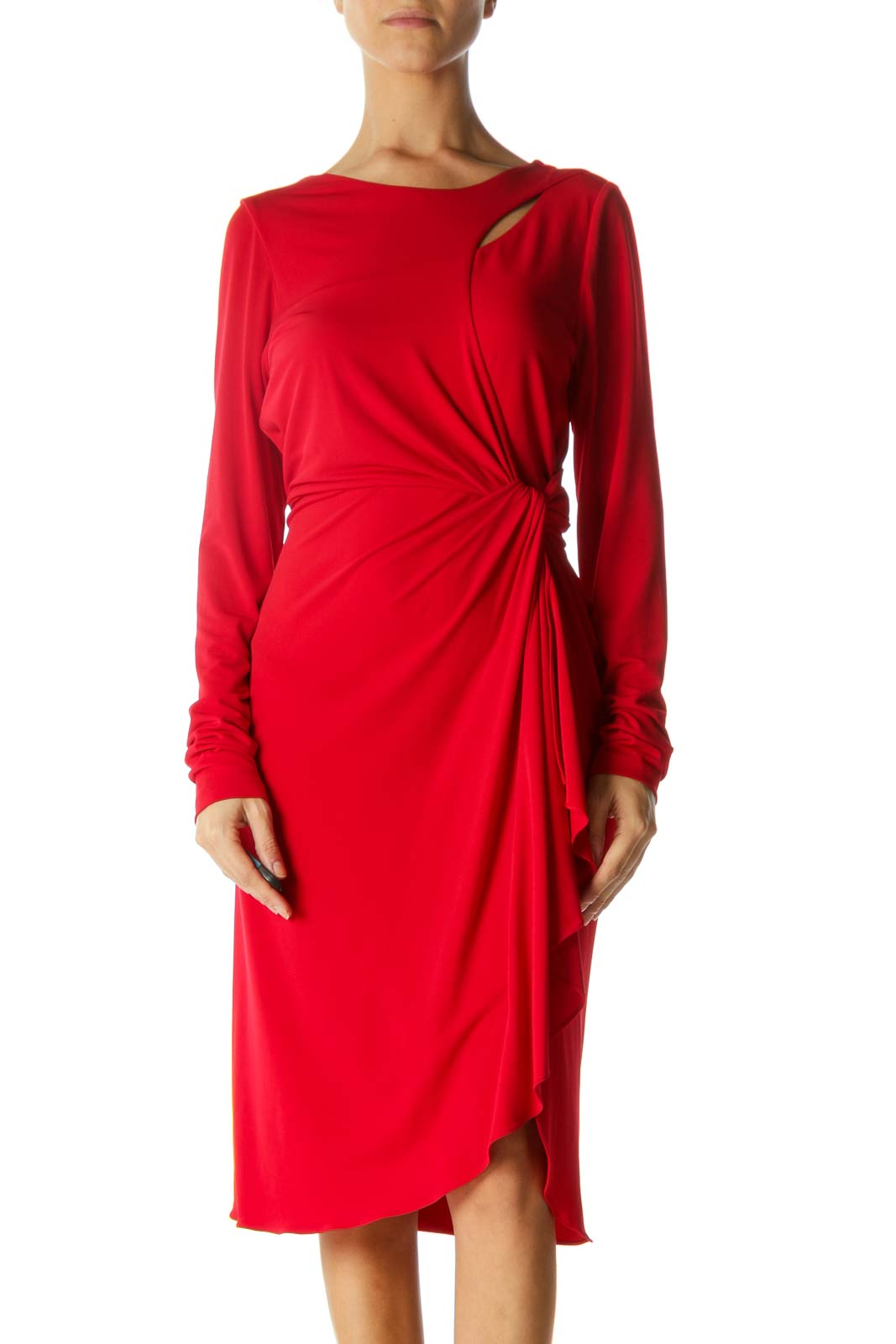 Red Round Neck Cut-Out Upper and Knot Detail Dress