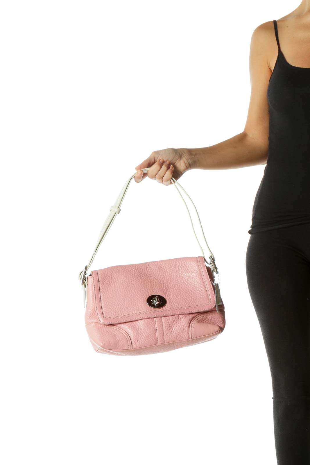 Pink Leather Color Block Shoulder Bag