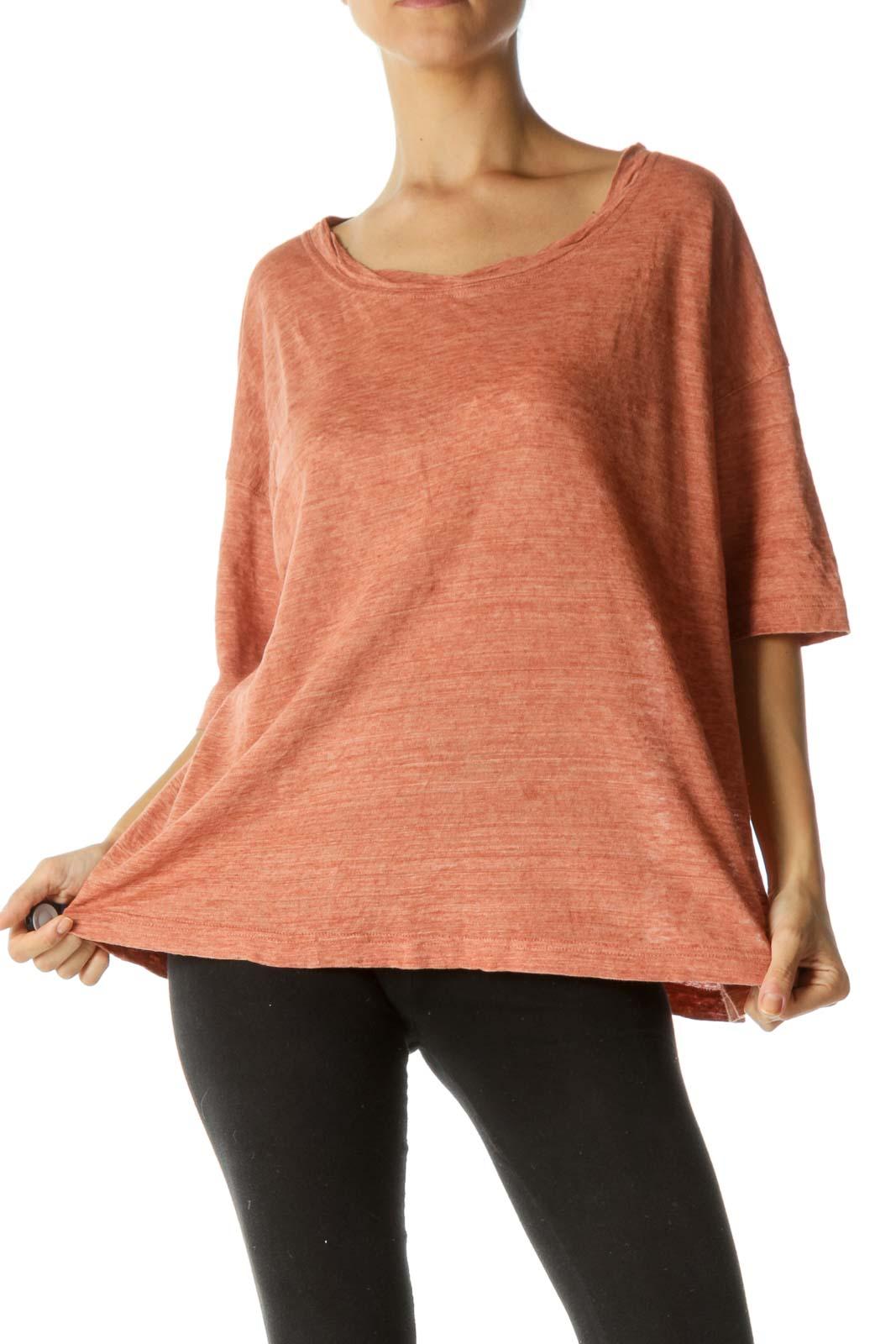 Orange 100% Linen Round Neck Sleeves-Detailing T-Shirt