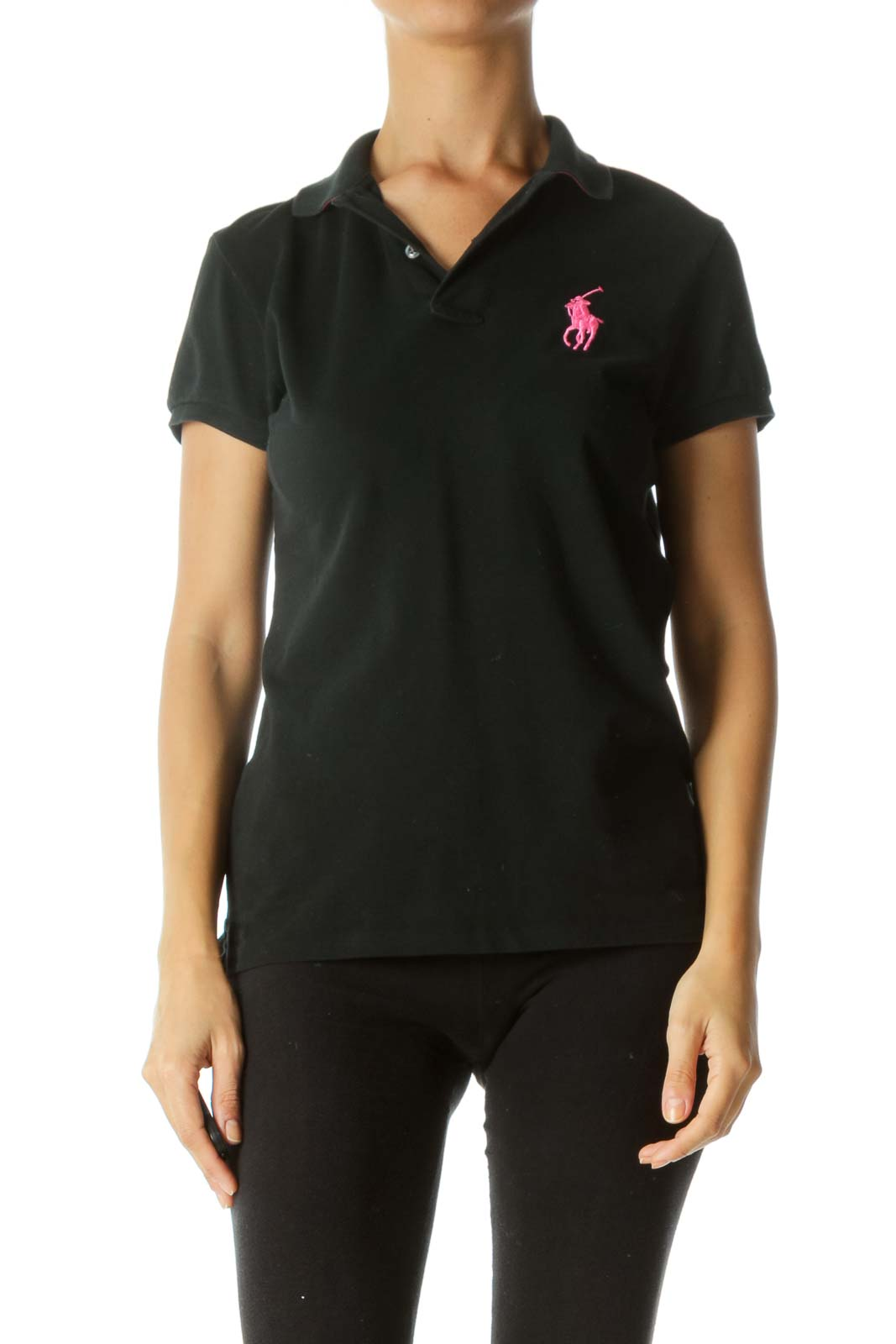 Black Neon Pink 100% Cotton Embroidered Logo Stretch Polo Shirt