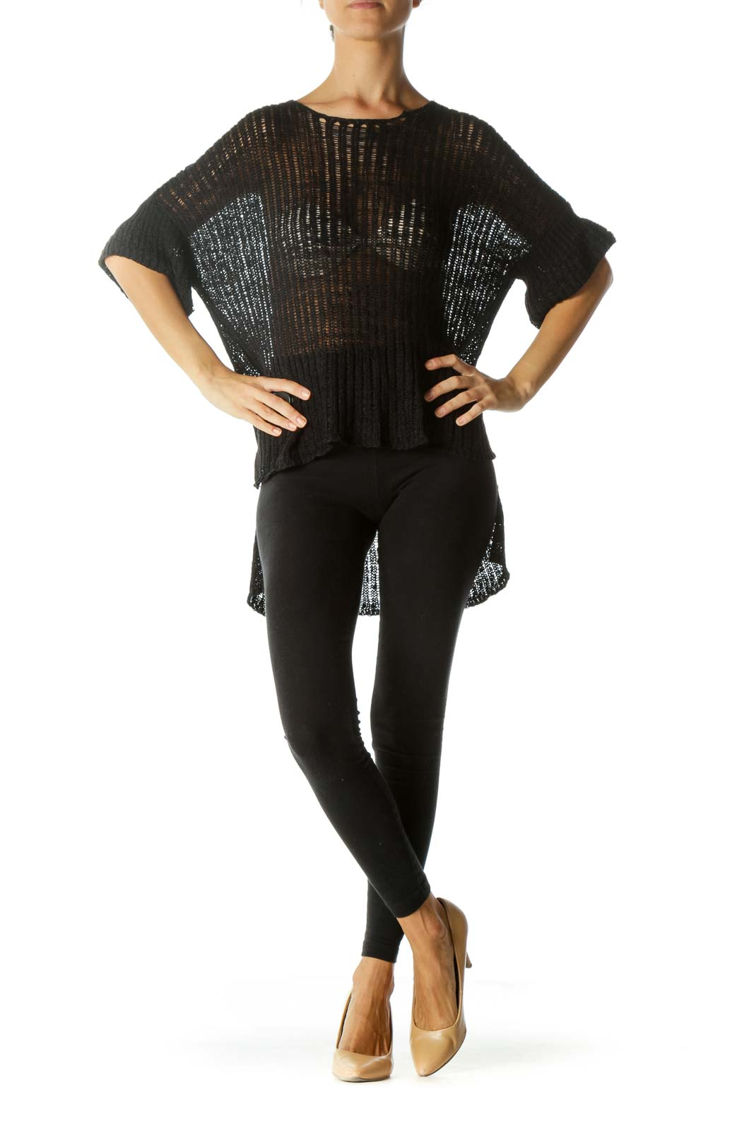 Black Knitted-Stretch Fabric Short Sleeve See-Through Top