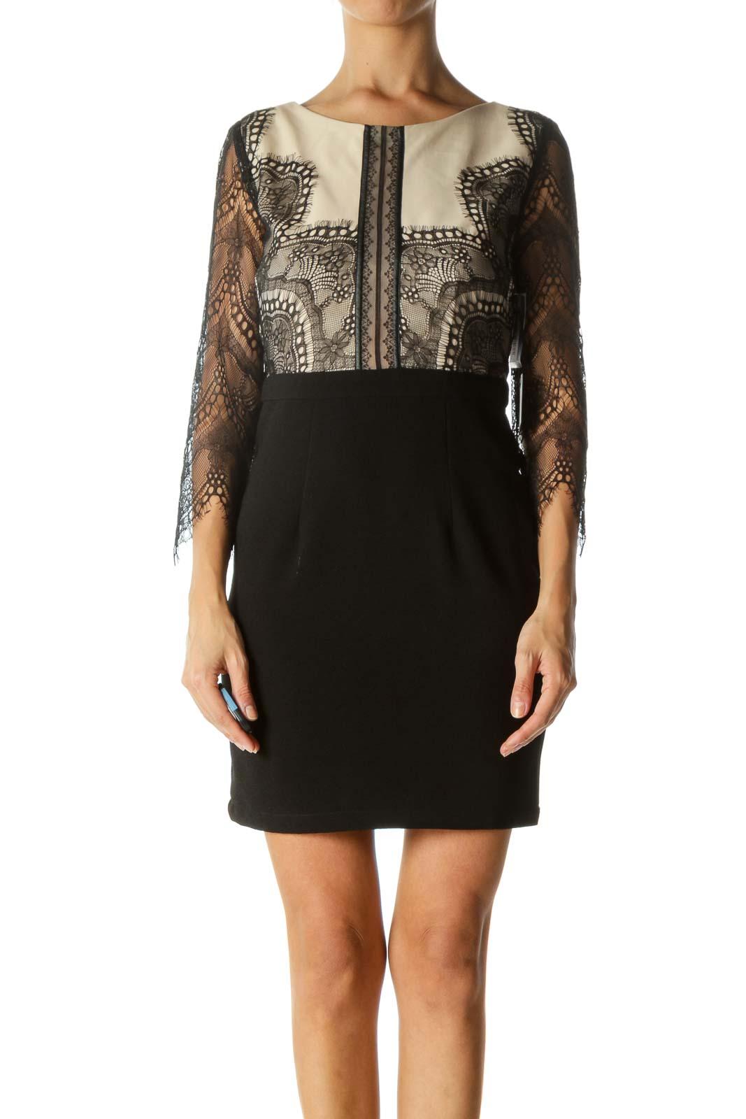 Black Lace Open-Back Dress