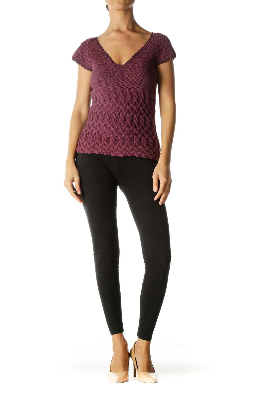 Purple V-Neck Lace Trim Detail Varying Knit Patterns Top