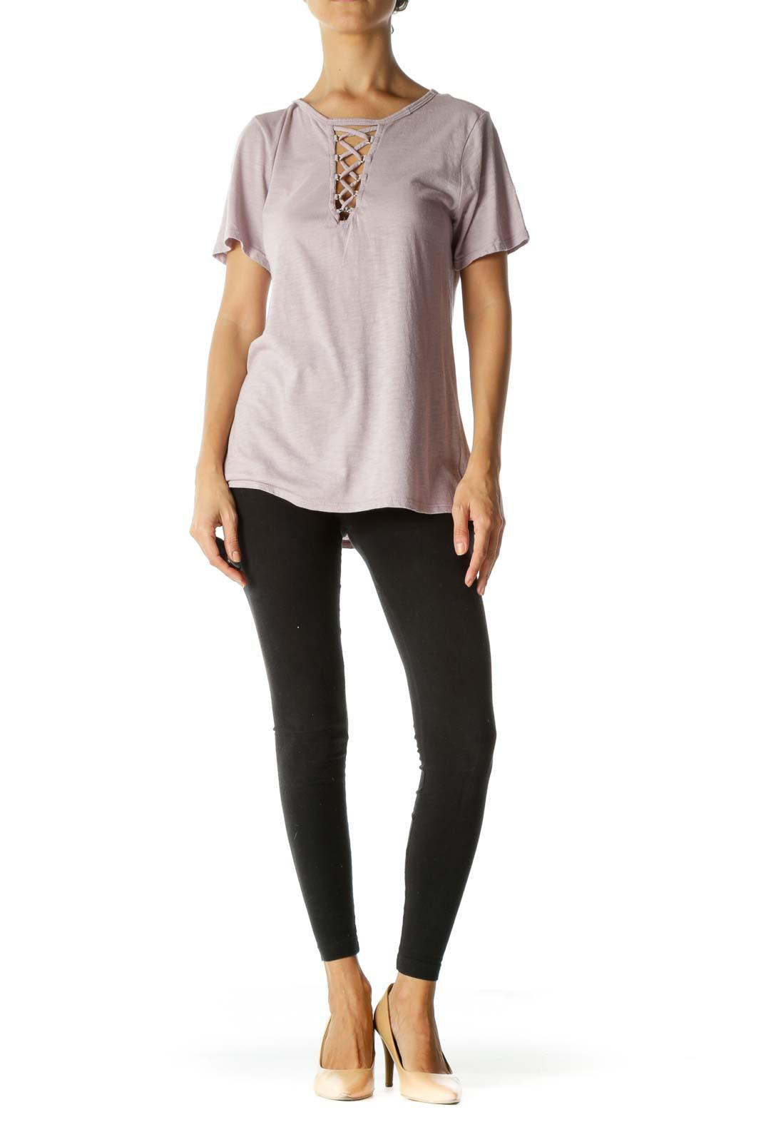 Light Purple Cotton Blend Crisscross Stretch T-Shirt