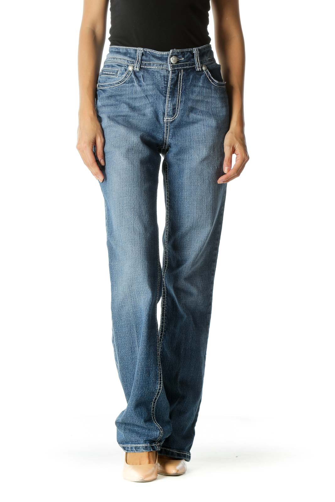 Blue Medium Wash Straight Leg Jeans