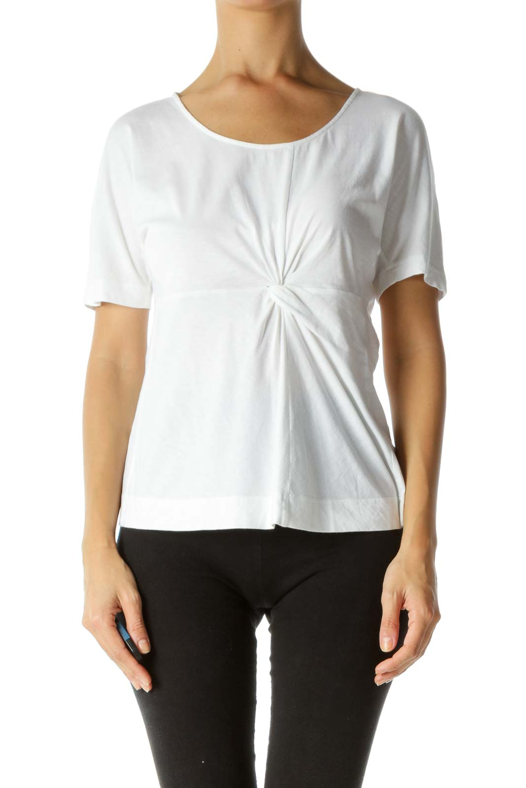 White 100% Cotton Front Knot Detail T-Shirt