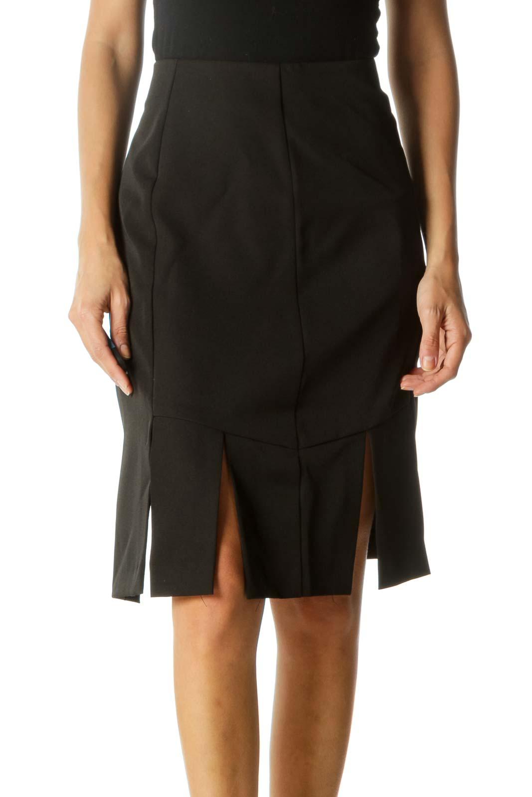 Black Zippered Cut-Out Lower Detail Skirt