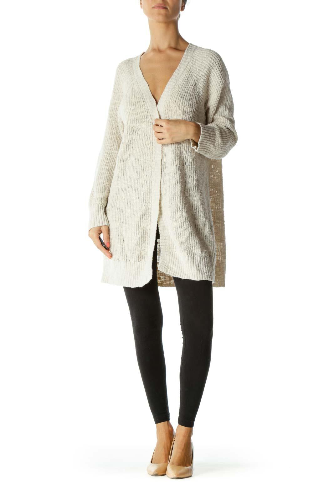 Cream Open Back-Crisscross Detail Open Knit Stretch Plus Size Cardigan