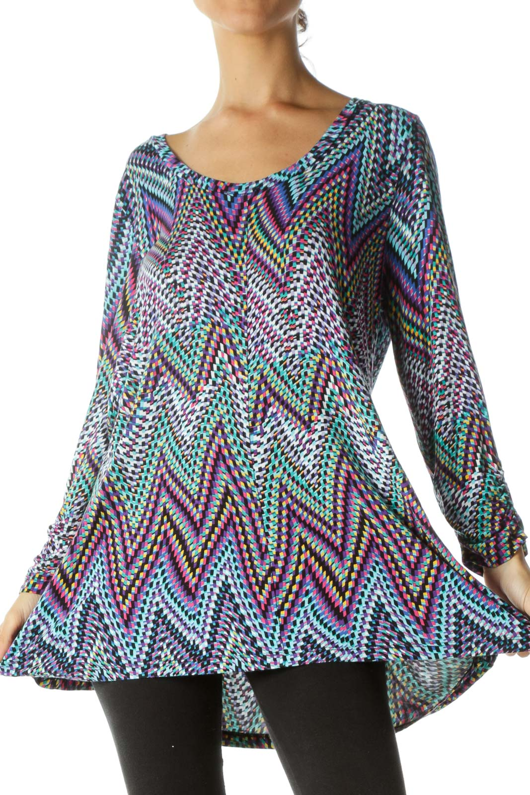 Multicolored Round Neck Print Scrunch Detail Stretch Top