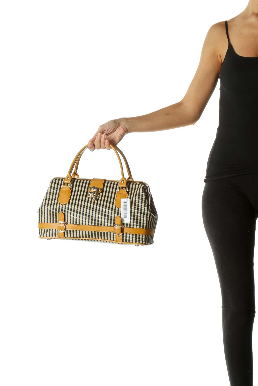 Beige and Black Striped Satchel