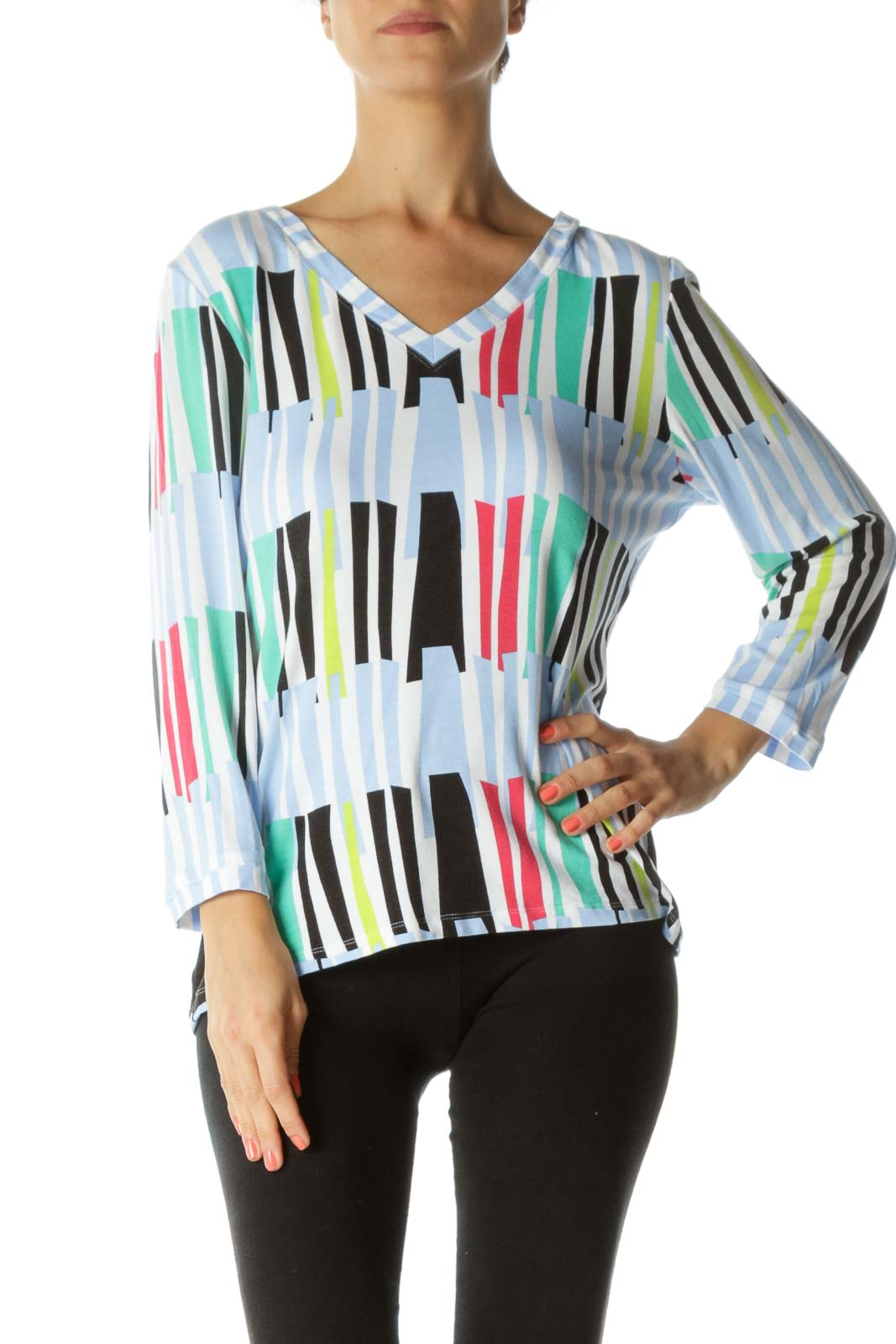 Multicolored V-Neck Front and Back Print 3/4 Sleeve Top