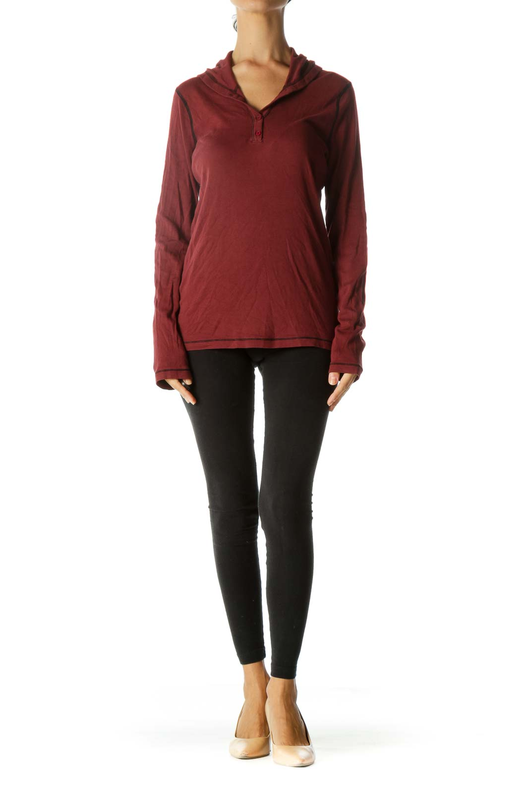 Burgundy Black Supima Cotton Blend Hooded Stretch Long Sleeve Top