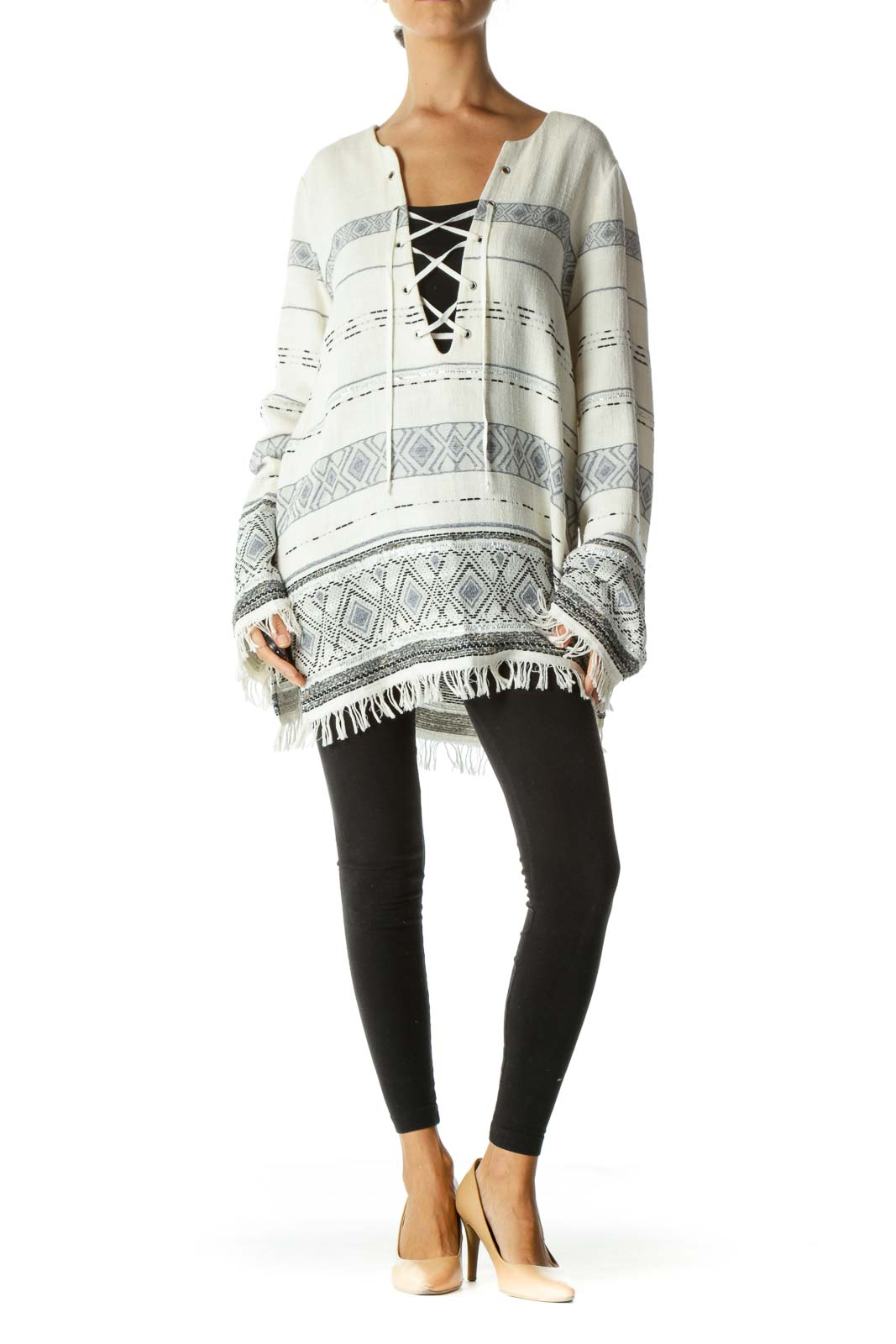 Cream Blue Black Knit Crisscross Fringe Long Sleeve Top