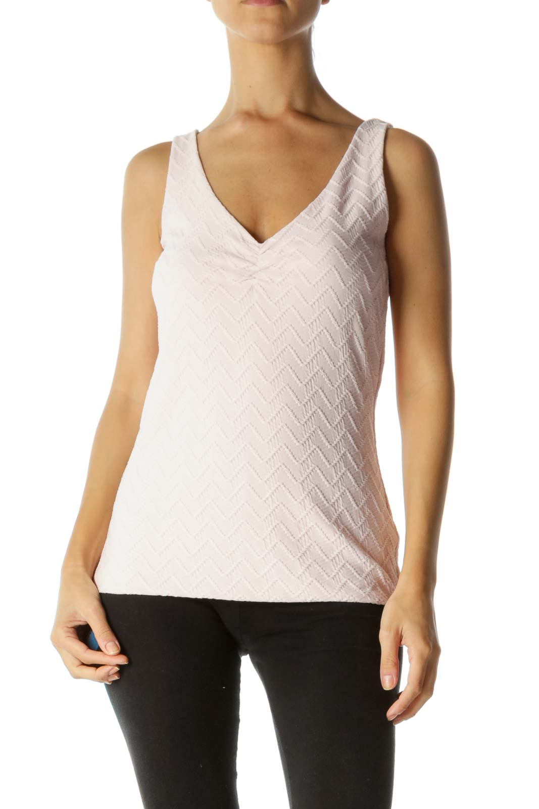 Light Pink V-Neck Scrunched Detail Textured Stretch Tank Top