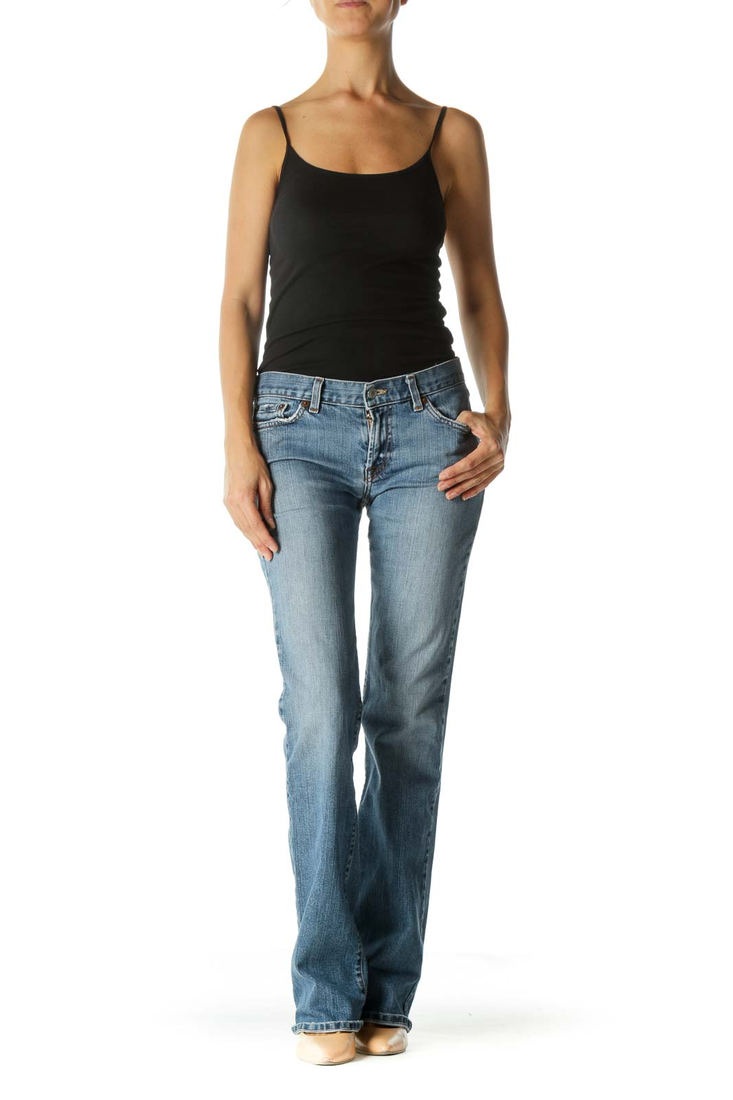 Blue Medium Wash Flared Jeans