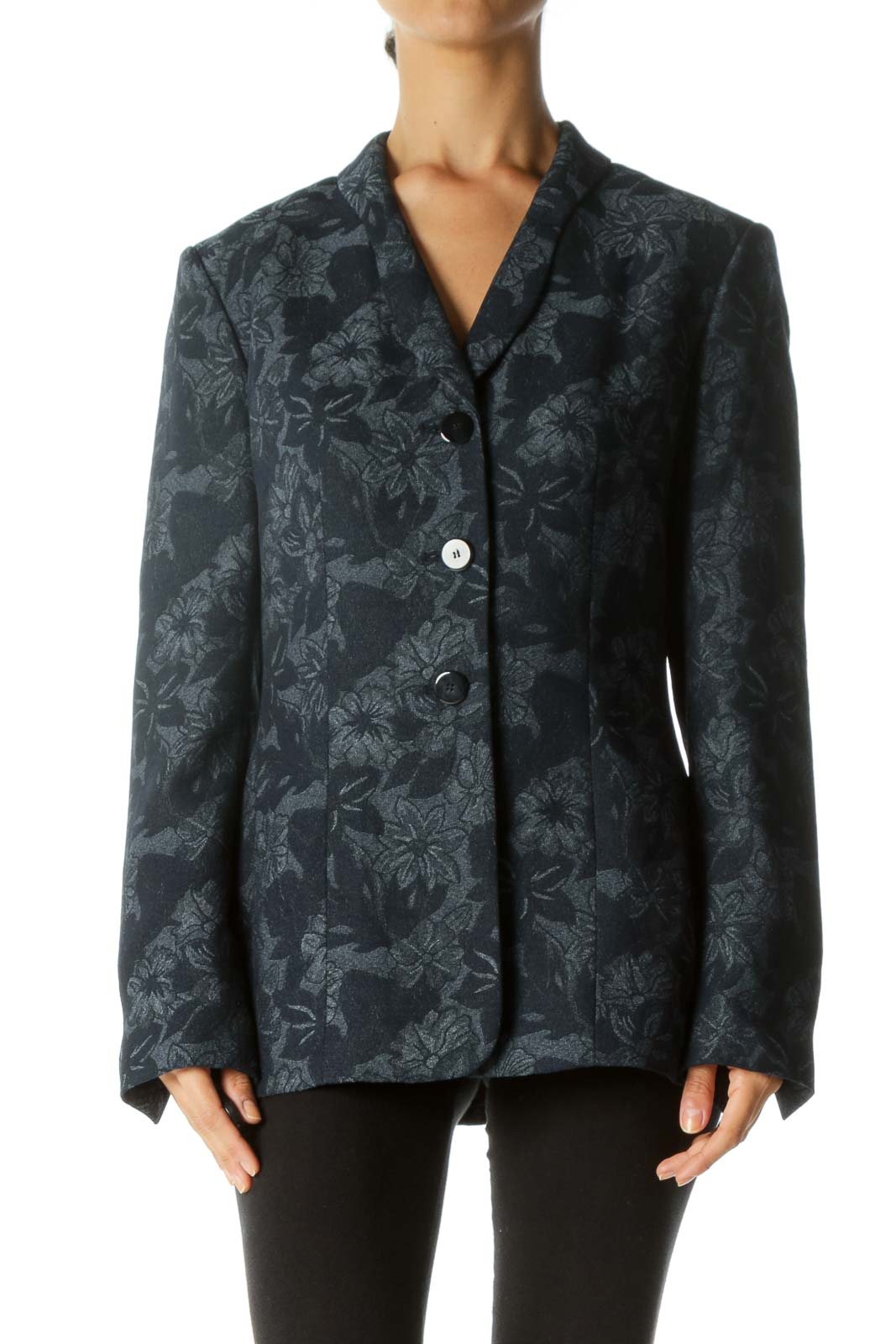 Blue White Floral Jacquard Padded Shoulders Blazer