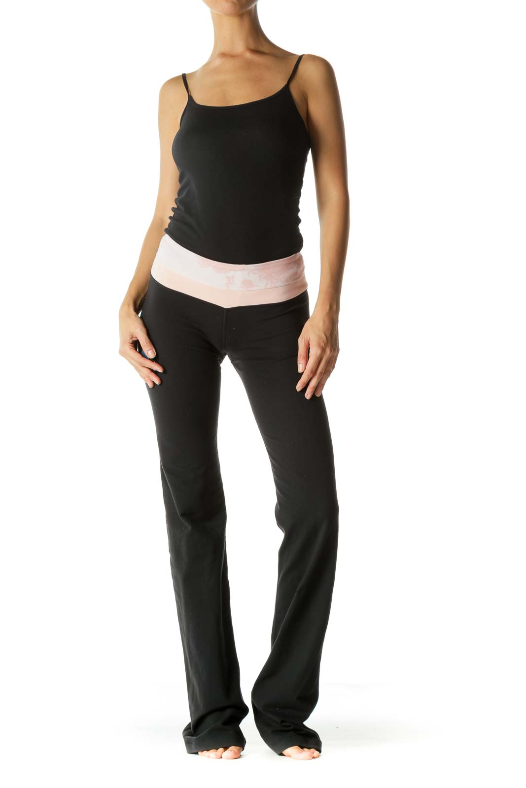 Black and Pink Bootcut Yoga Pant