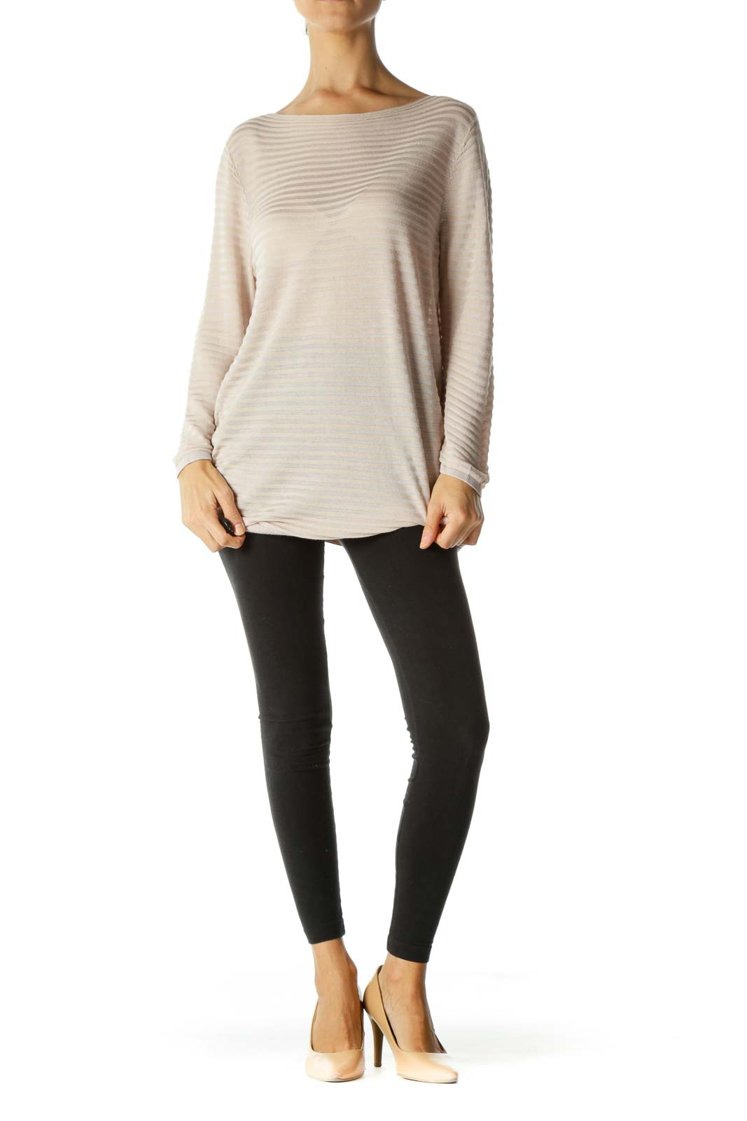 Beige Boat Neck Textured Stretch Light-Weight Knit Top