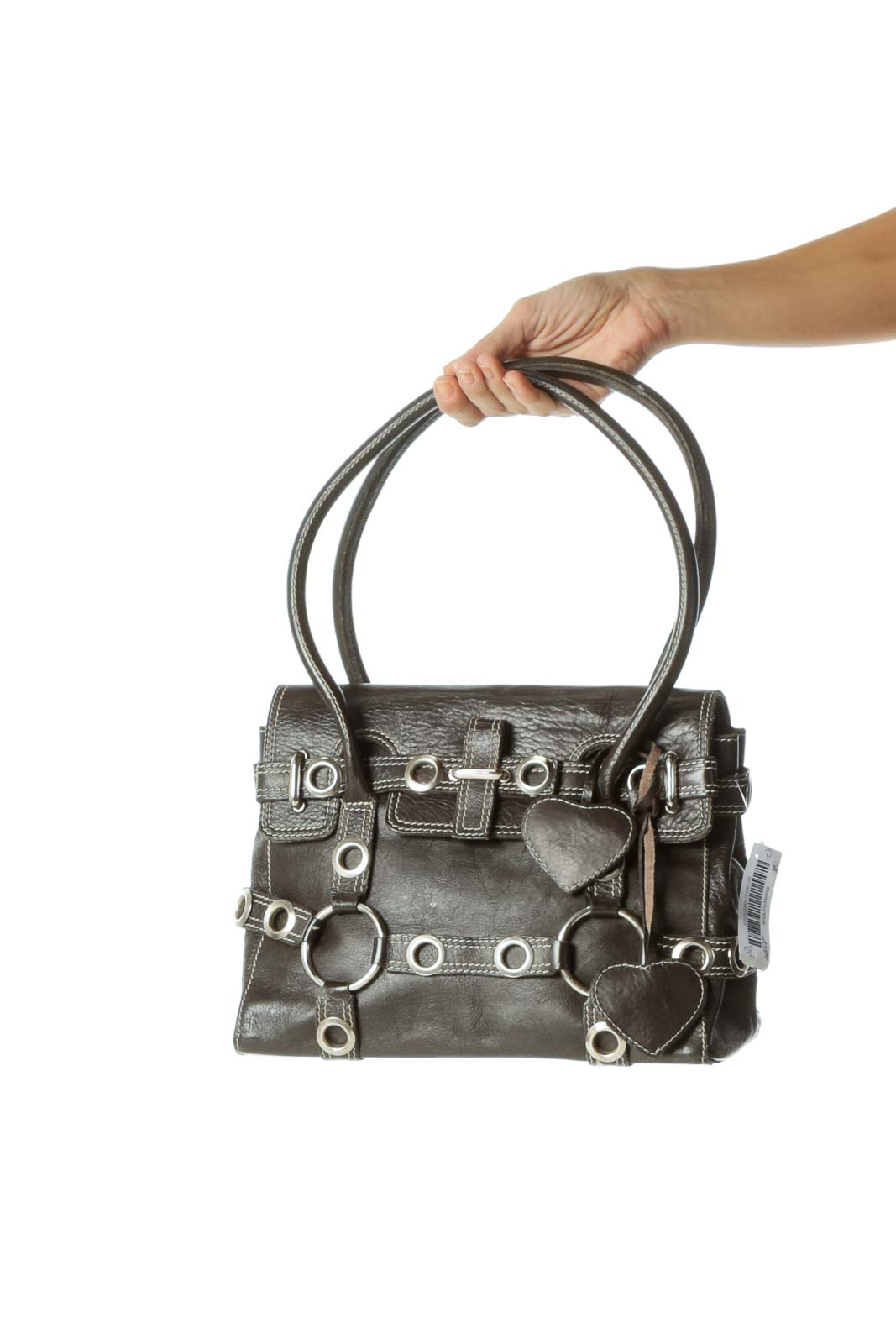 Dark Brown Shoulder Bag with Heart Hardware