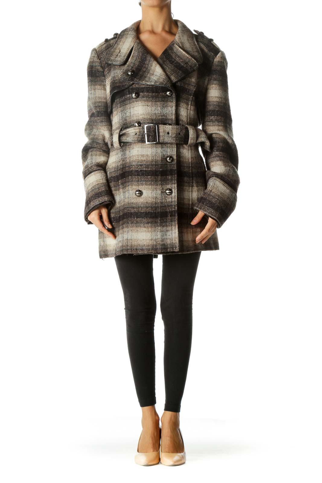 Brown Beige Black Weighted Textured Belted Coat