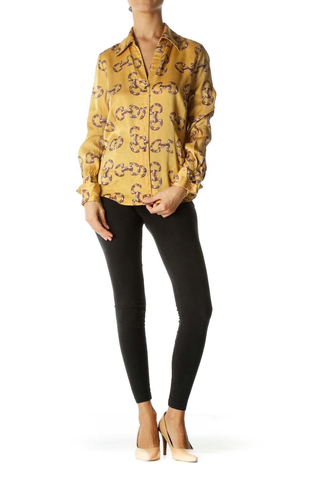 Gold Brown 100% Silk Print Long Sleeve Buttoned Shirt