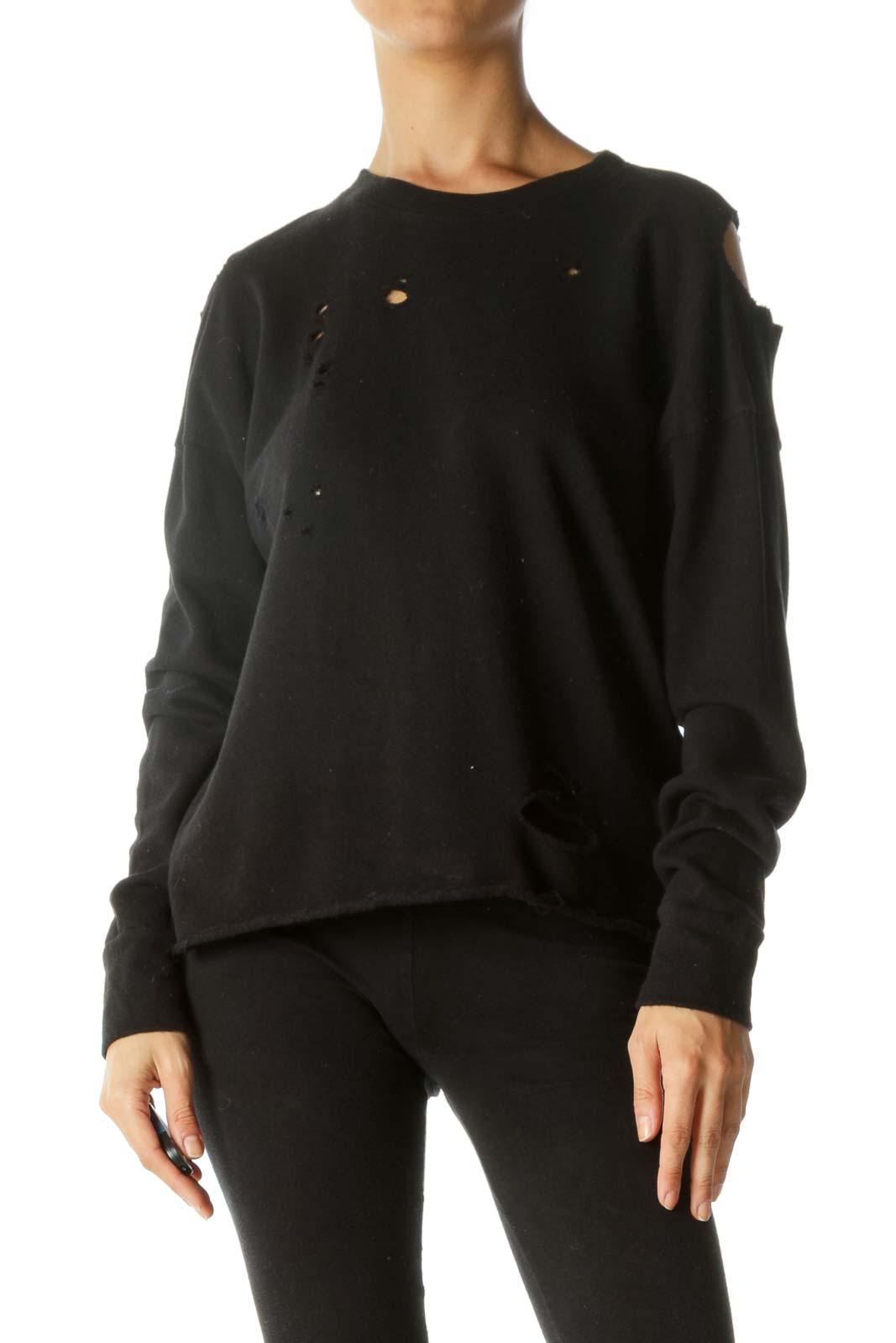 Black 100% Cotton Distressed Holes Cold-Shoulder Top