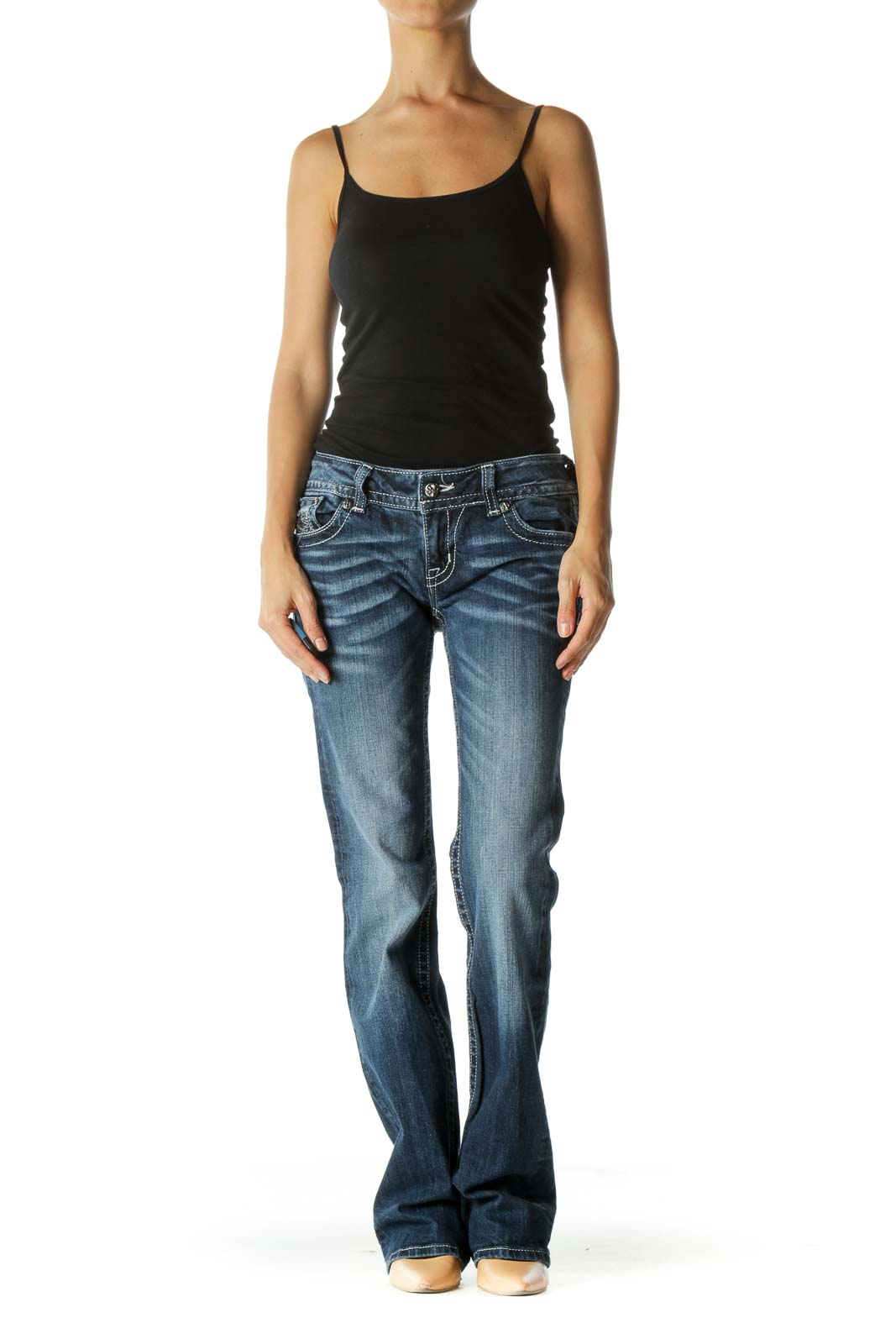 Blue Dark Wash Boot Cut Jeans