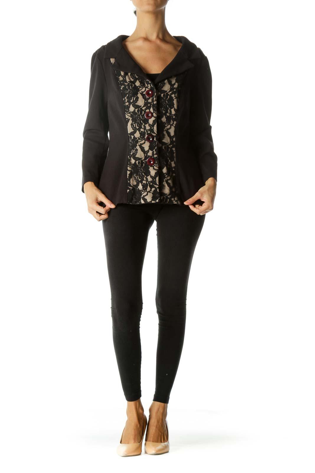 Black Beige Floral Lace Burgundy Buttons Mixed Media Soft Blazer