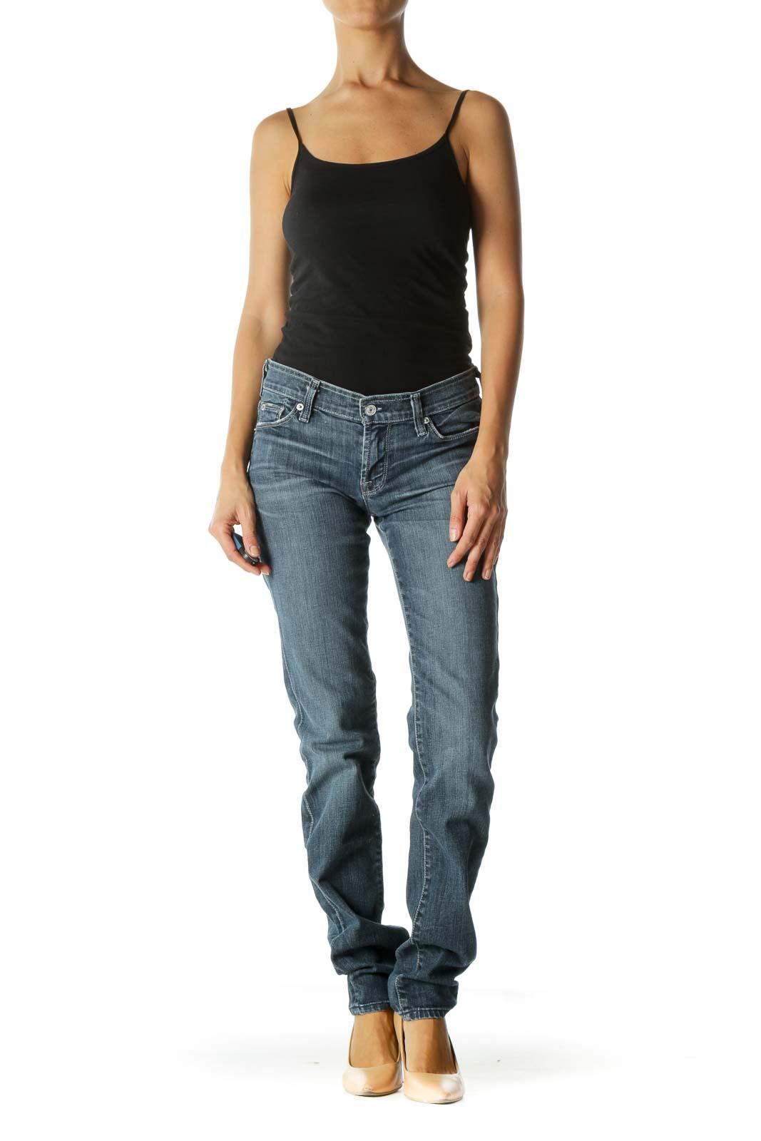 Blue Dark Wash Straight Leg Jeans