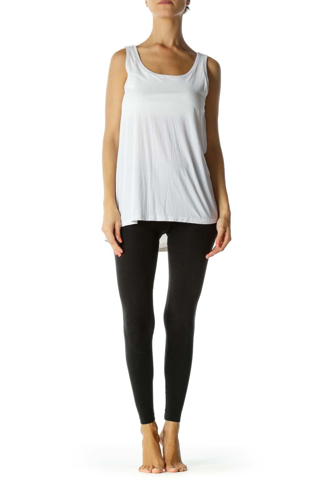 White Stripe Sporty Yoga Top