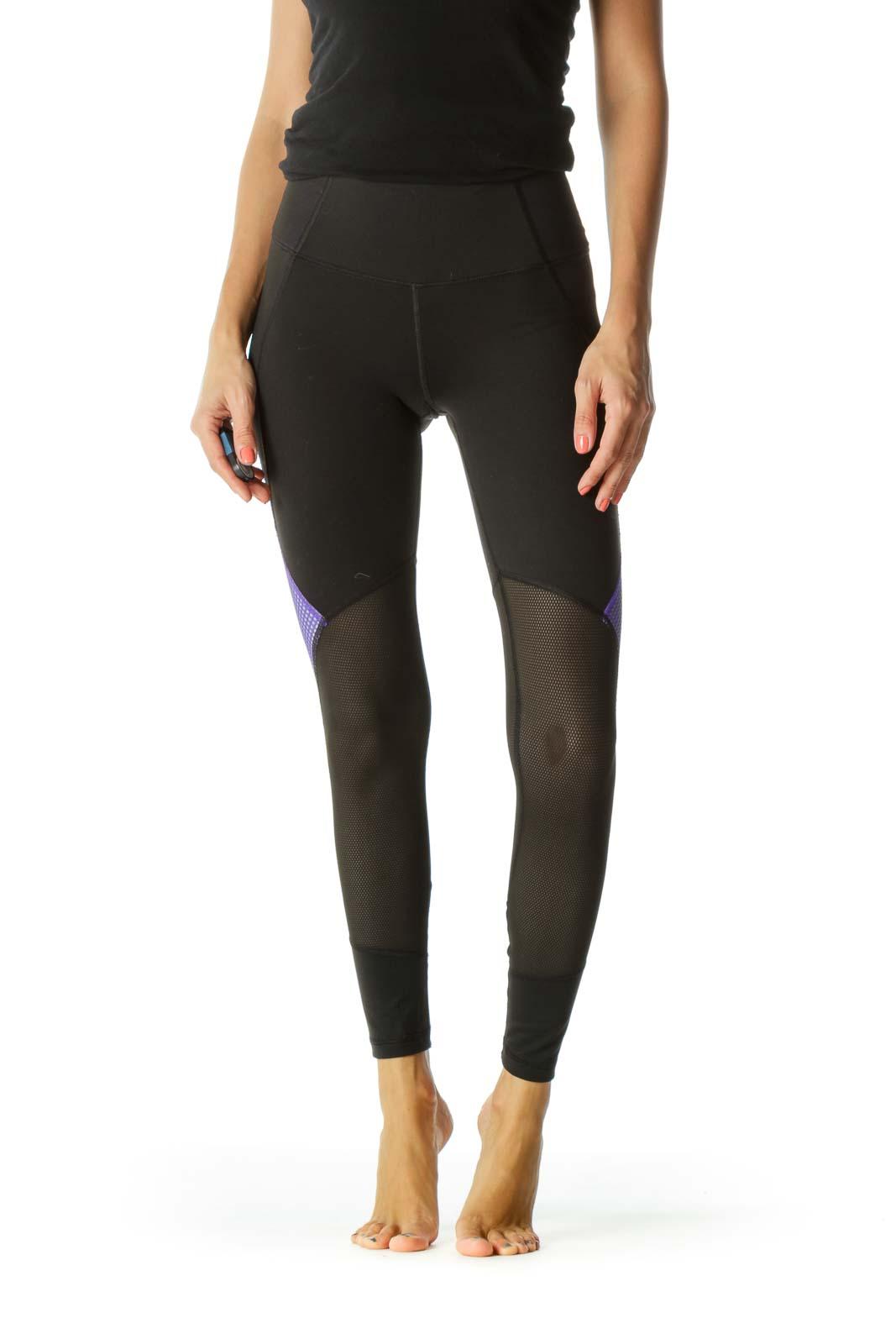 Black Purple Mesh Mixed-Media Sports Leggings with Inside Hip Pocket