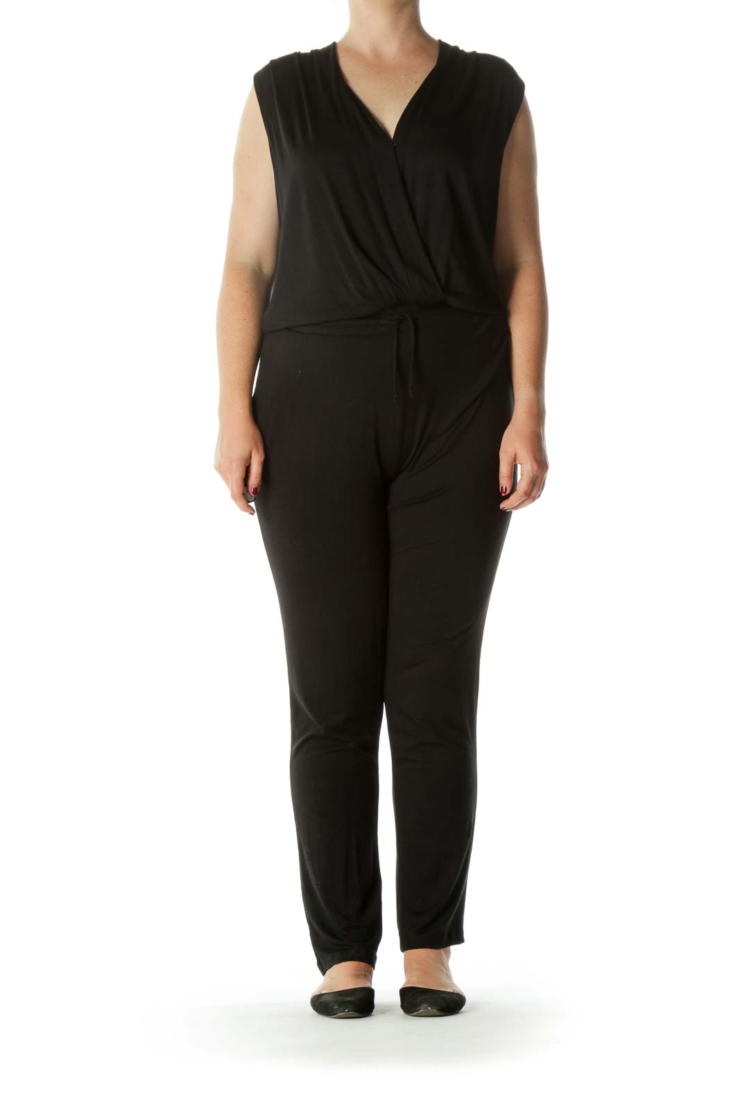 Black Super Soft-Texture Pocketed Drawstring Stretch Yoga Jumpsuit